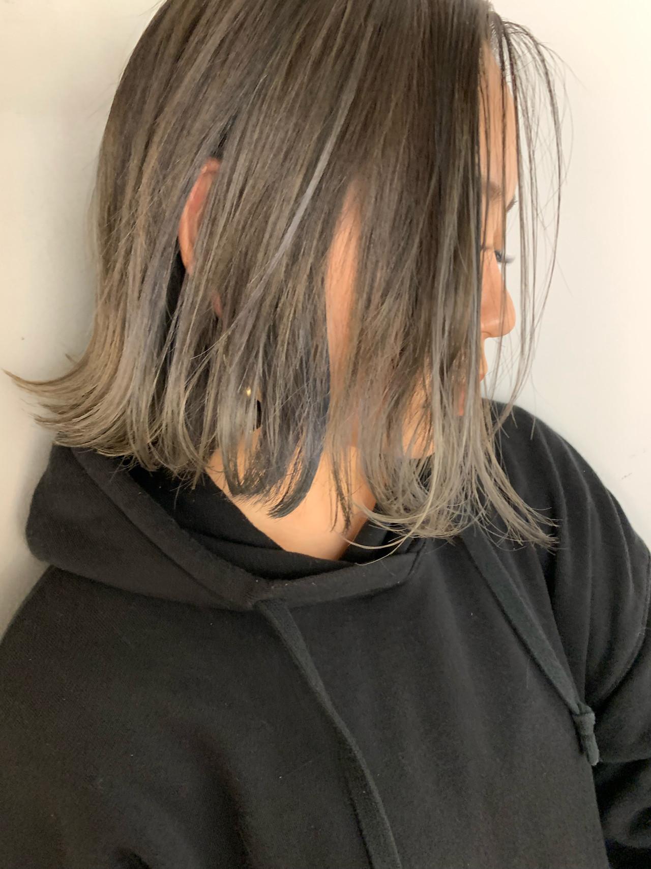 バレイヤージュ アッシュグラデーション 外ハネボブ グラデーションカラー ヘアスタイルや髪型の写真・画像