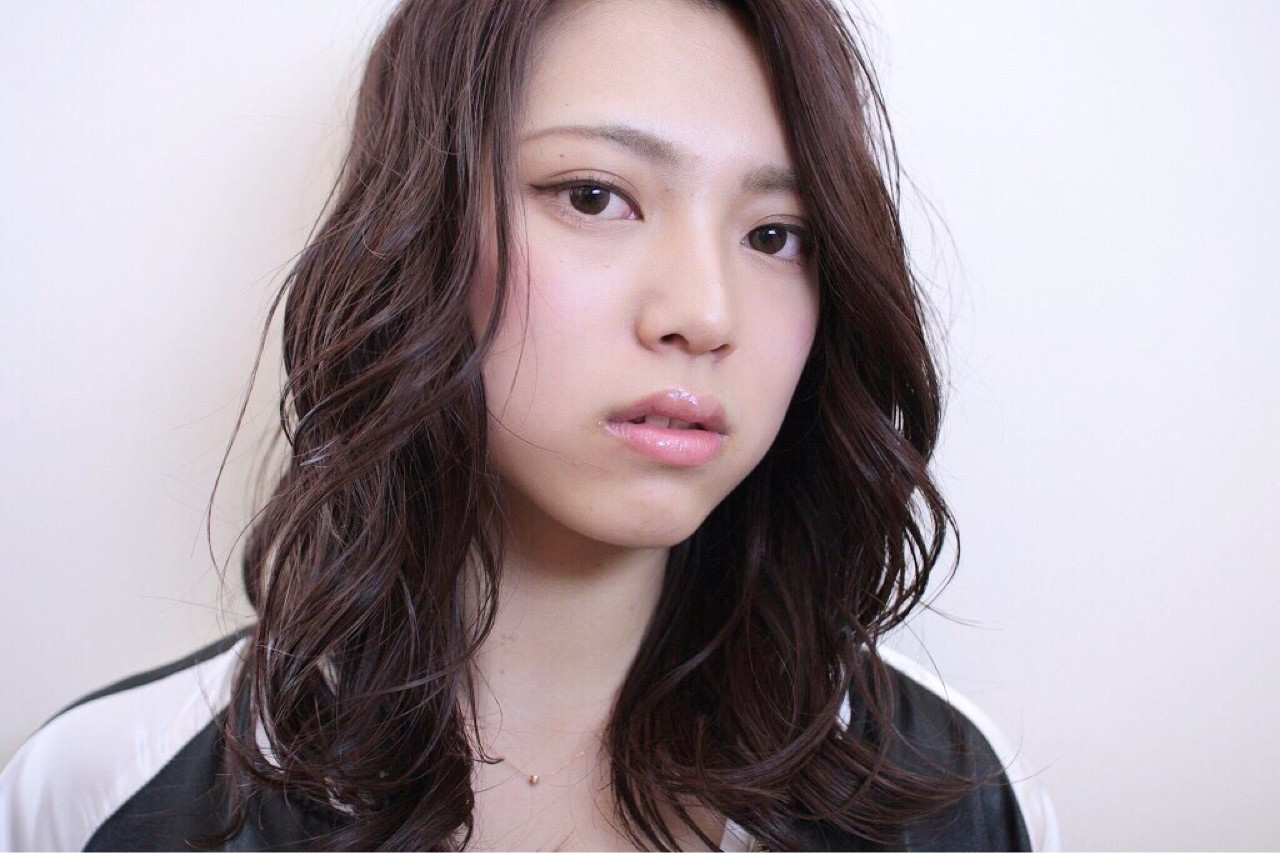 かわいい 似合わせ パーマ ラベンダーピンク ヘアスタイルや髪型の写真・画像