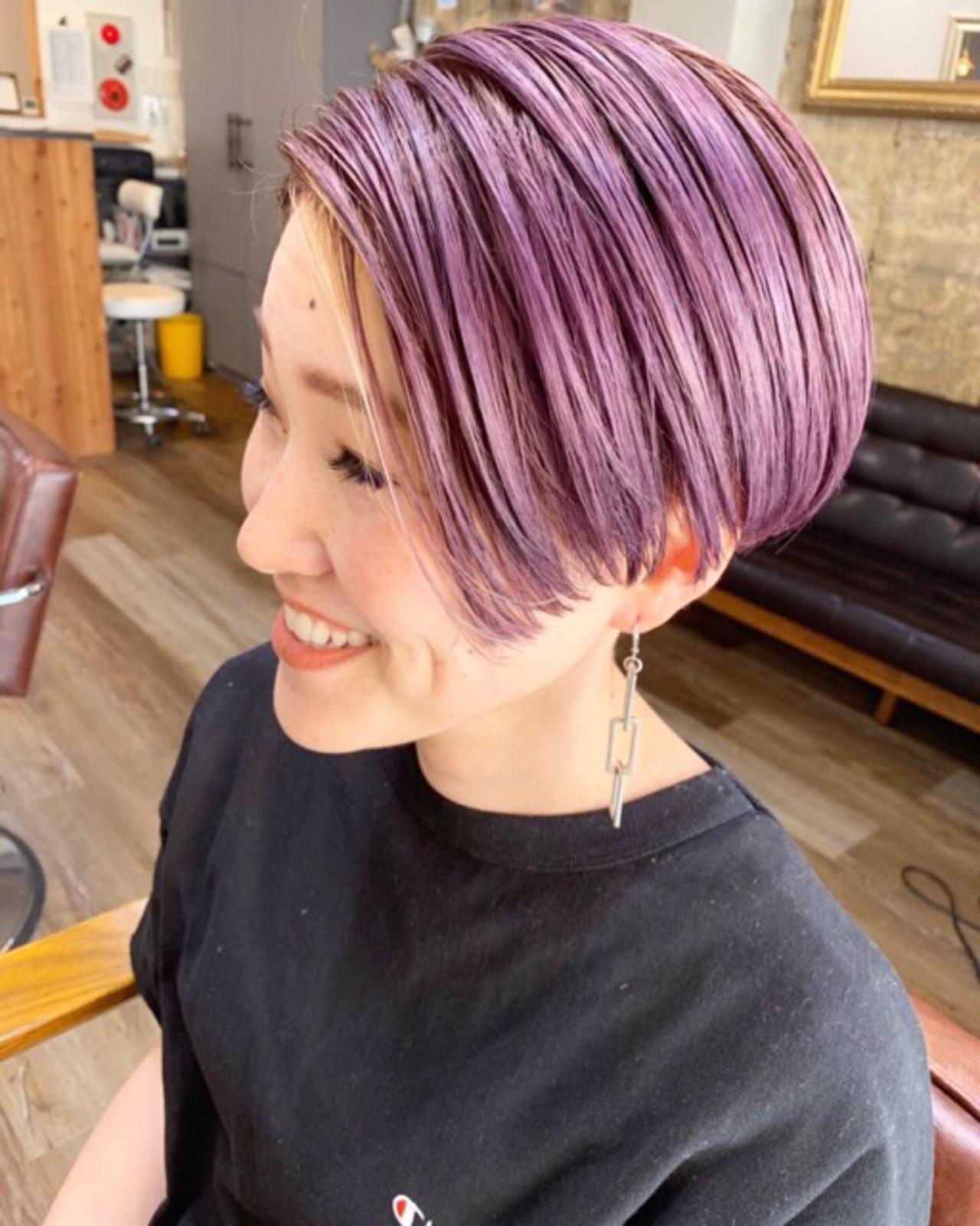 ラベンダーピンク ピンクベージュ ラベンダーグレージュ ショート ヘアスタイルや髪型の写真・画像