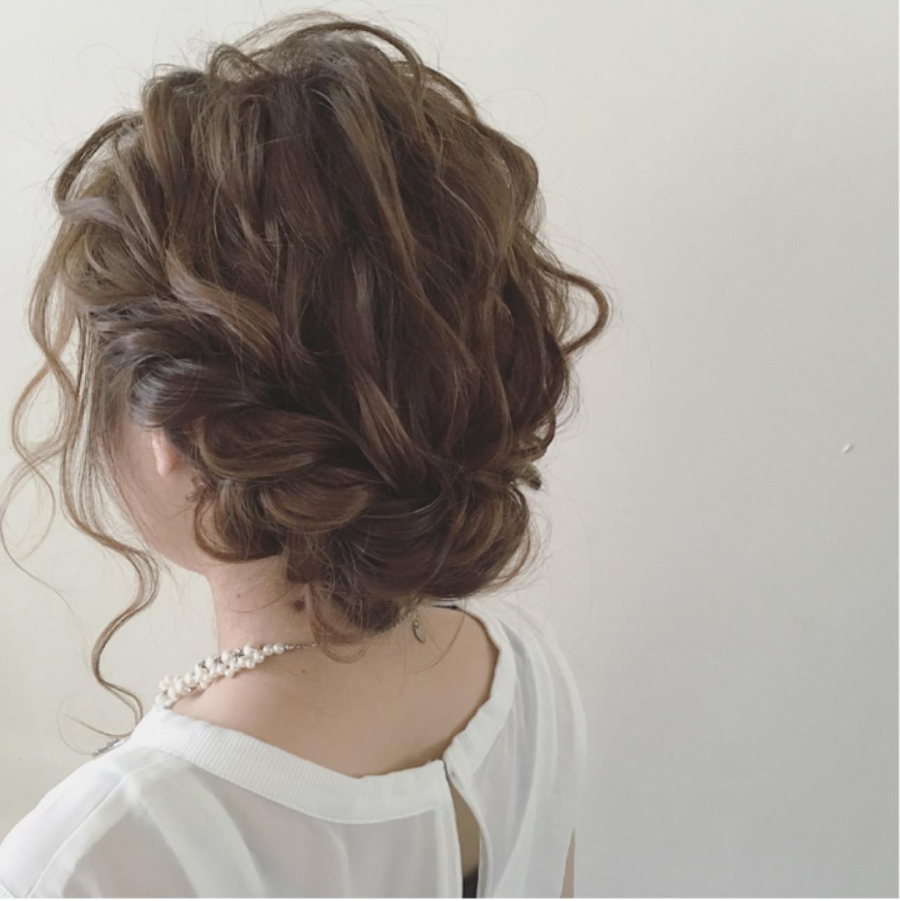 結婚式 ナチュラル ガーリー ミディアム ヘアスタイルや髪型の写真・画像