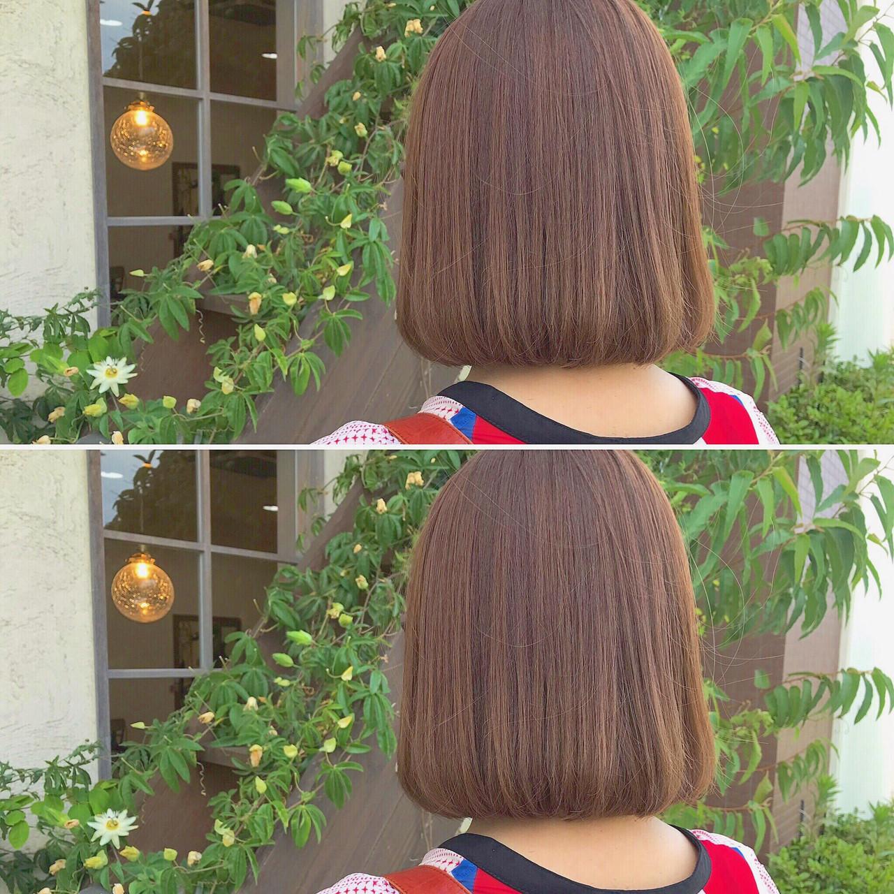 ミルクティーベージュ まとまるボブ デジタルパーマ ボブ ヘアスタイルや髪型の写真・画像