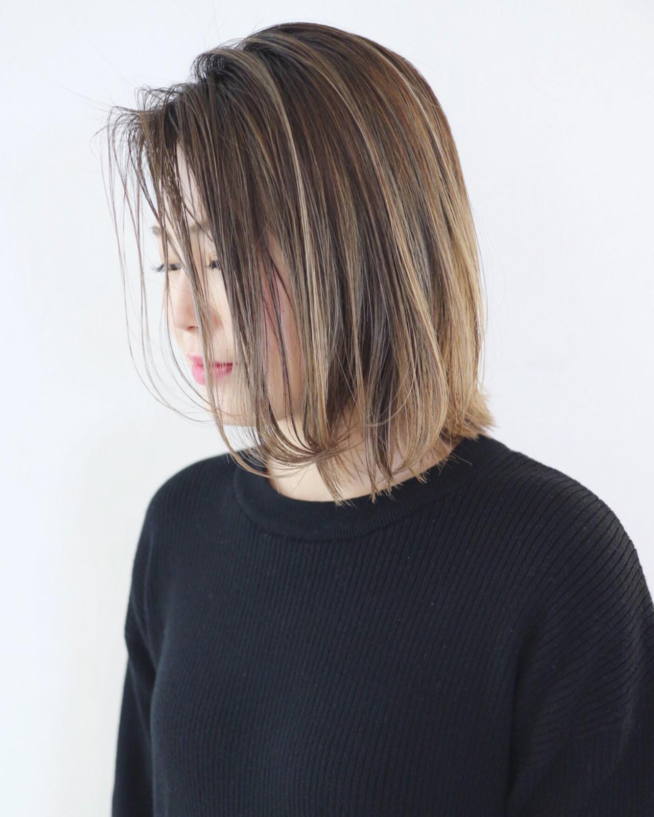ボブ 外ハネ ストリート グラデーションカラー ヘアスタイルや髪型の写真・画像 | 三好 佳奈美 / Baco.(バコ)