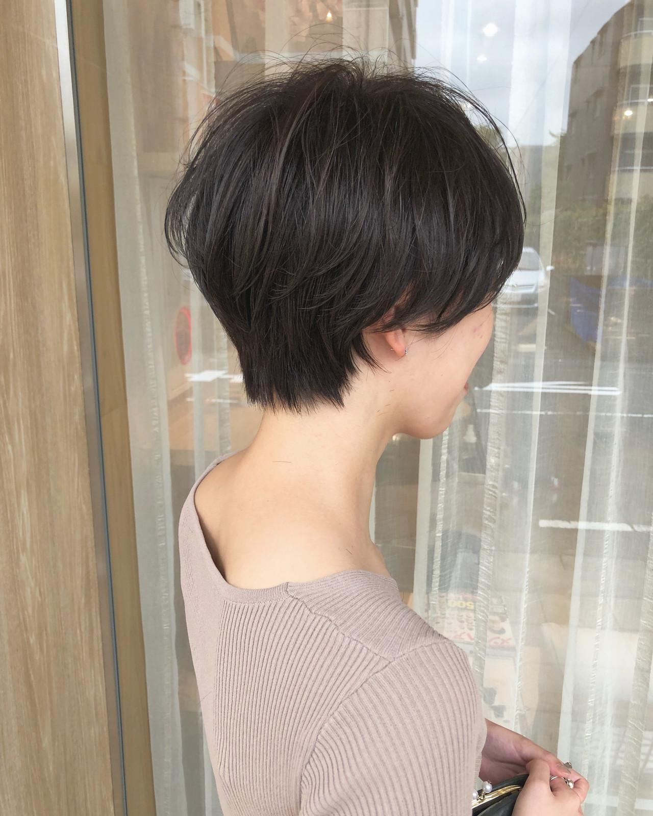 ナチュラル マッシュショート ショートボブ ショートヘア ヘアスタイルや髪型の写真・画像