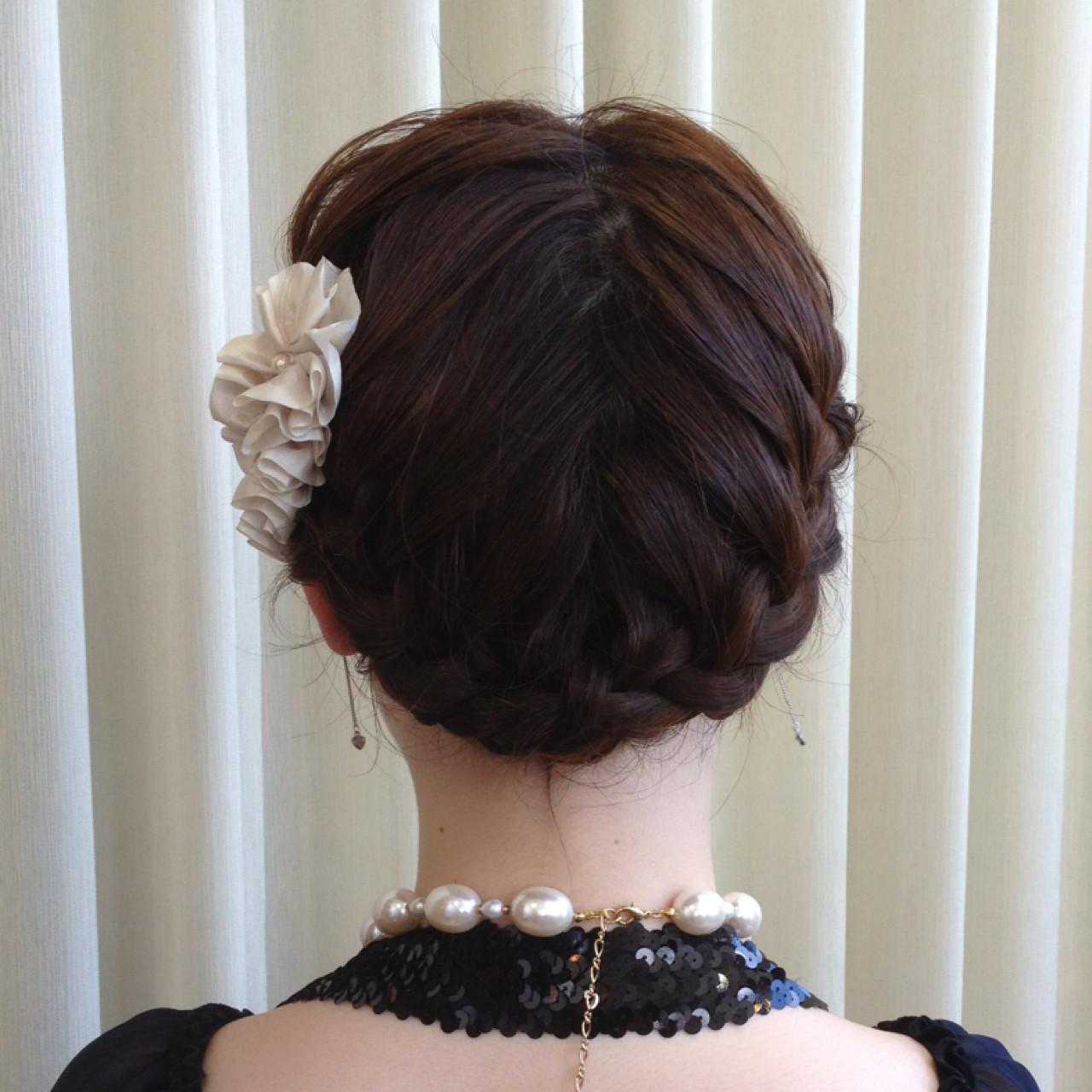 ヘアアレンジ 結婚式 ミディアム パーティ ヘアスタイルや髪型の写真・画像 | 木脇麻未 / トータルビューティーデザインオフコース