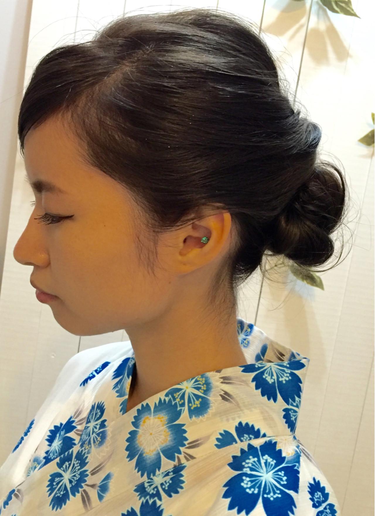 シニヨン ヘアアレンジ お祭り ナチュラル ヘアスタイルや髪型の写真・画像 | SaYaKa / レセ南柏店