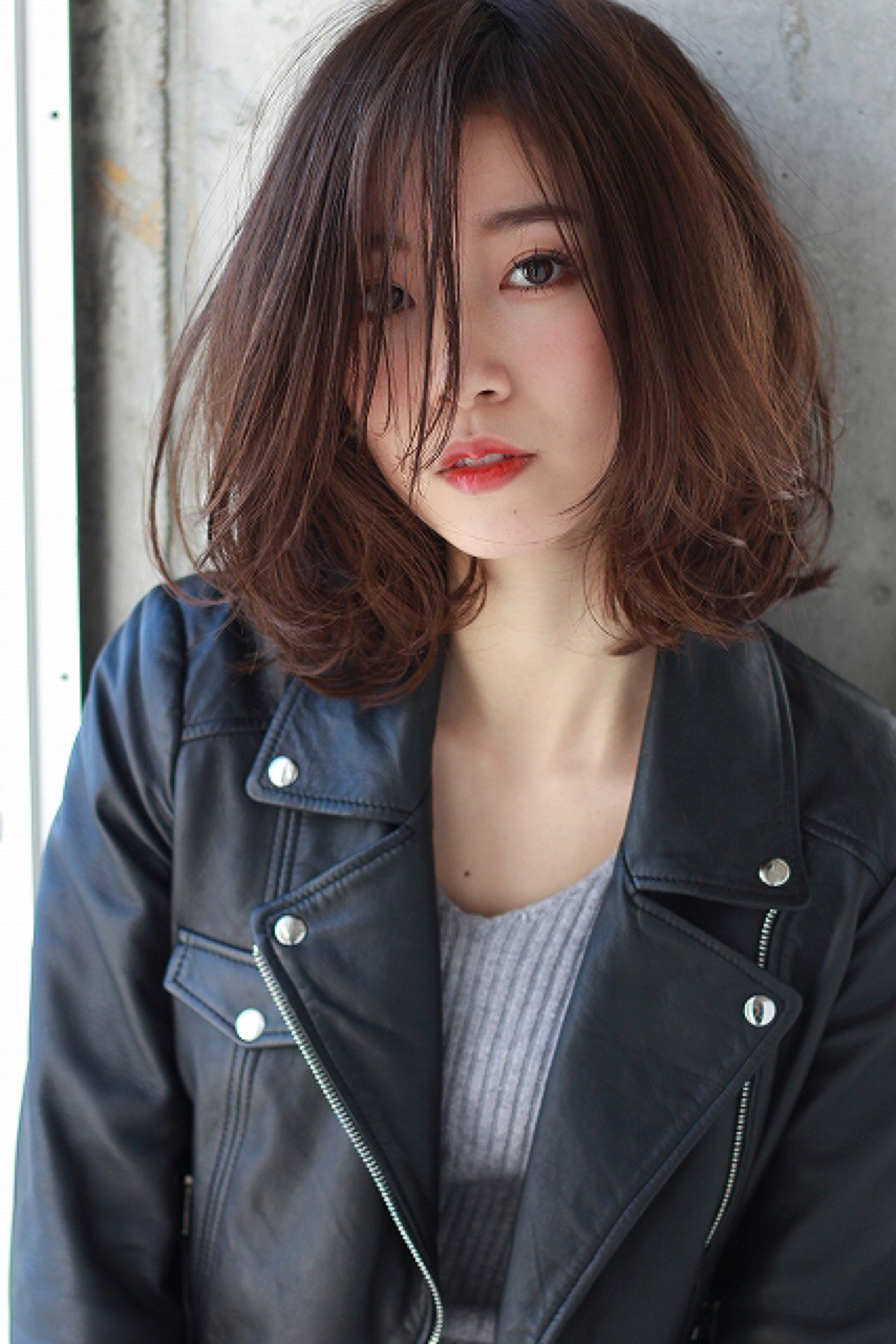 ミディアム 小顔 ニュアンス 外国人風 ヘアスタイルや髪型の写真・画像