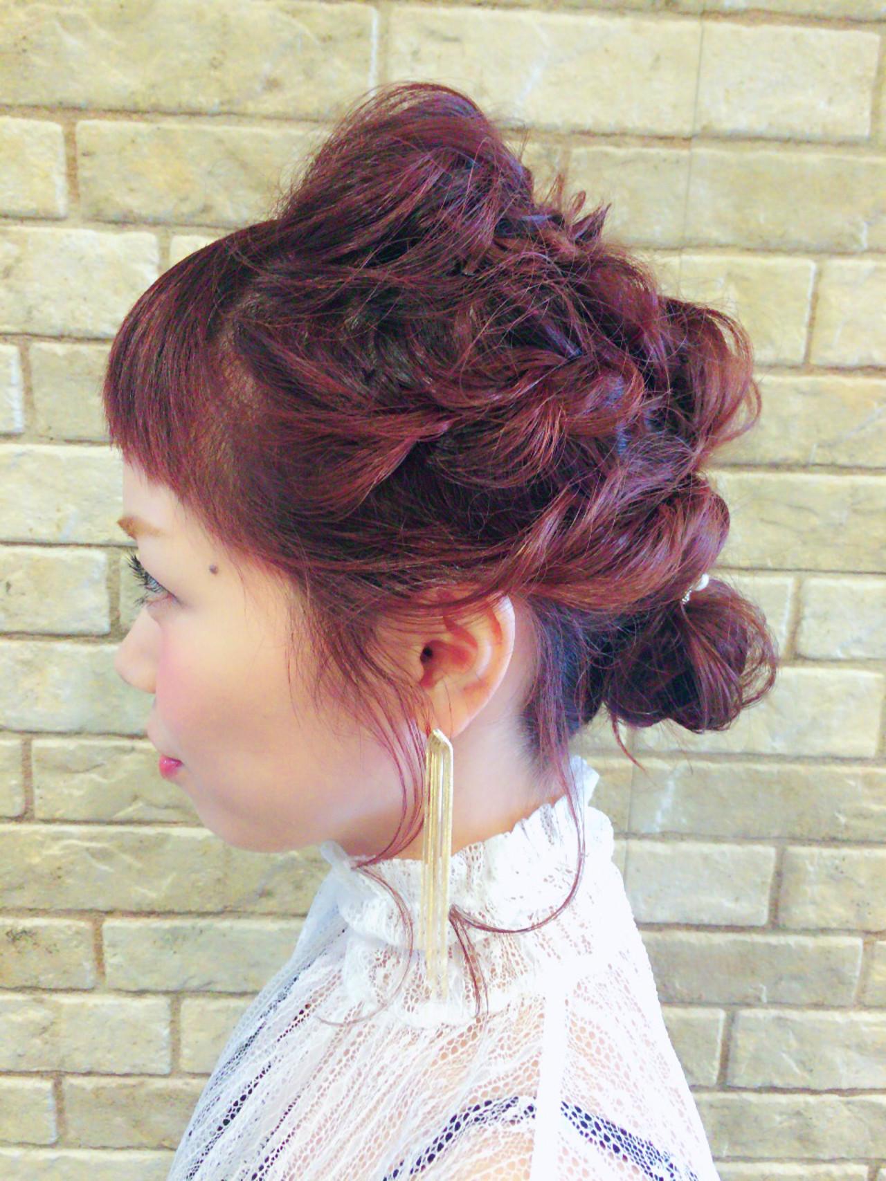 大人かわいい ヘアアレンジ くるりんぱ 編み込み ヘアスタイルや髪型の写真・画像