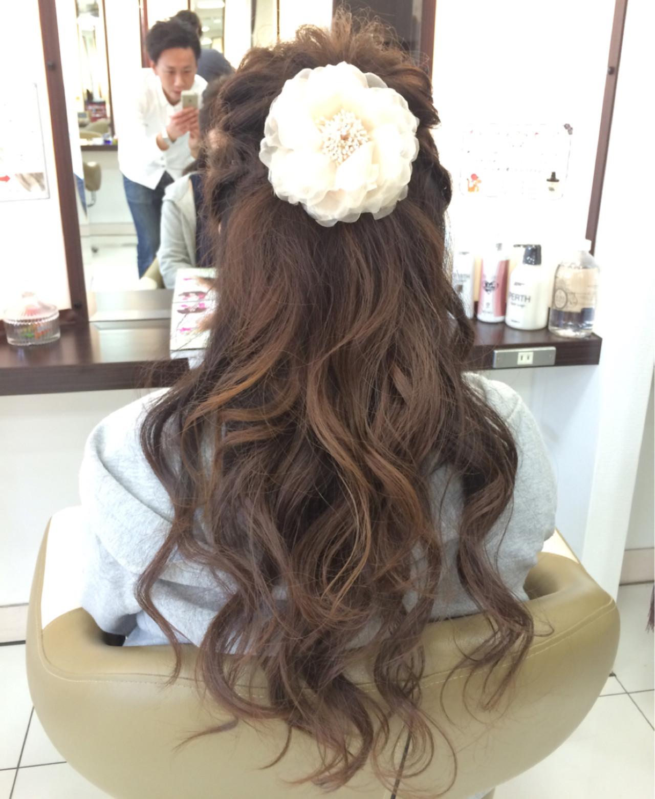 ヘアアレンジ ハーフアップ ロング 大人かわいい ヘアスタイルや髪型の写真・画像   Masayuki Seto / PROS:旭商店街店