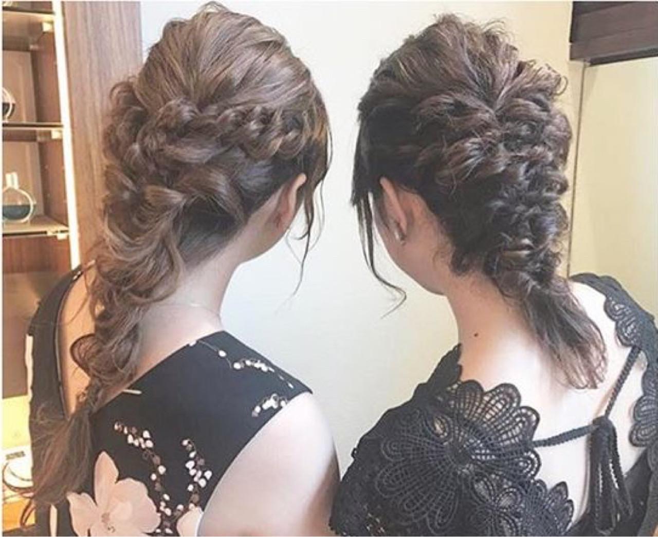 セミロング 結婚式 デート ガーリー ヘアスタイルや髪型の写真・画像