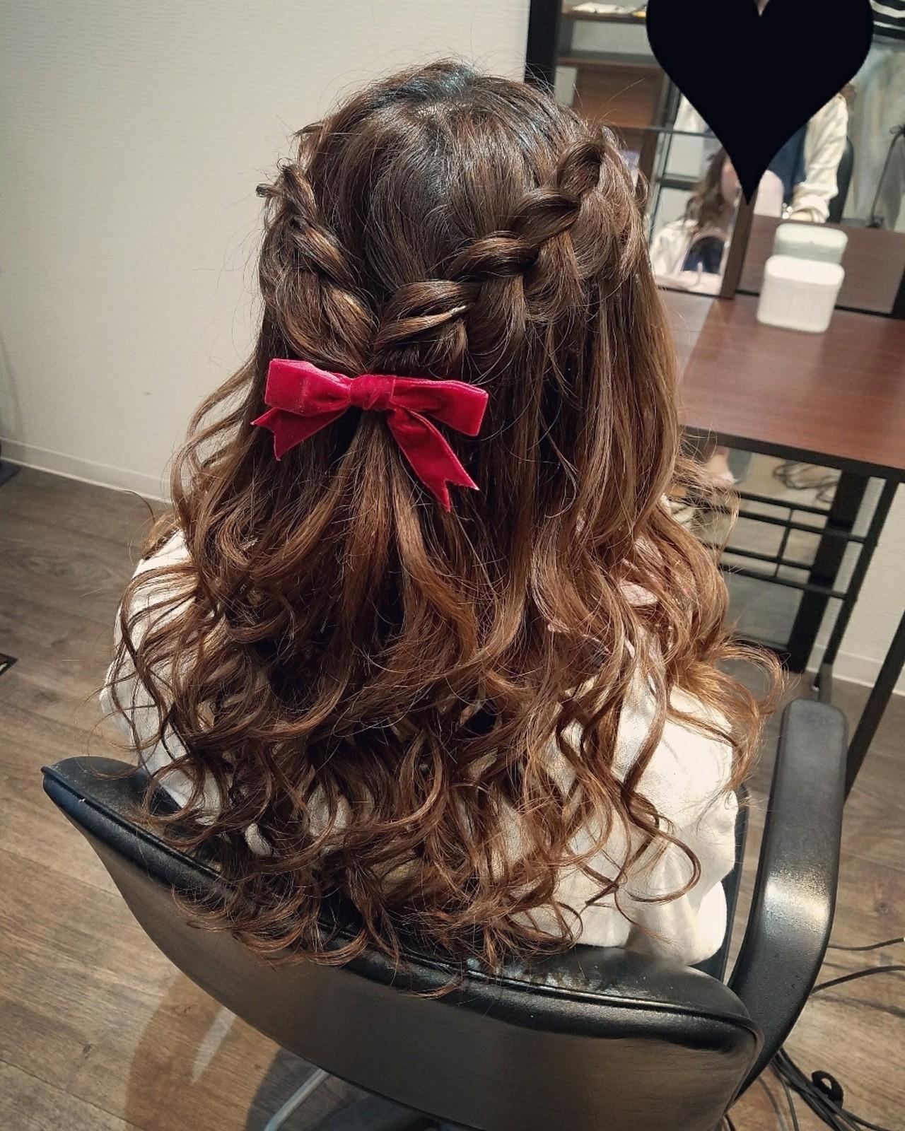 編み込み ヘアアレンジ ガーリー ハーフアップ ヘアスタイルや髪型の写真・画像 | mai / HAIR SALON STELLA
