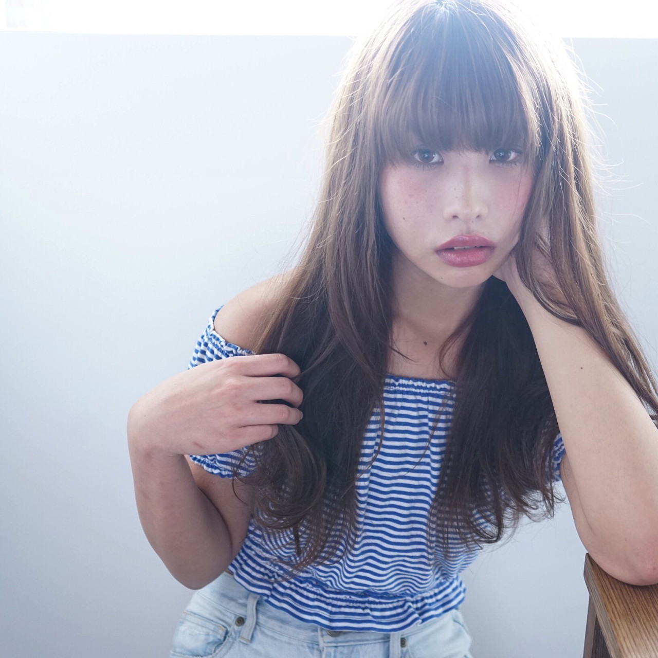 ワイドバング ナチュラル ロング ゆるふわ ヘアスタイルや髪型の写真・画像 | 下元将悟 / tihi(ティヒ)