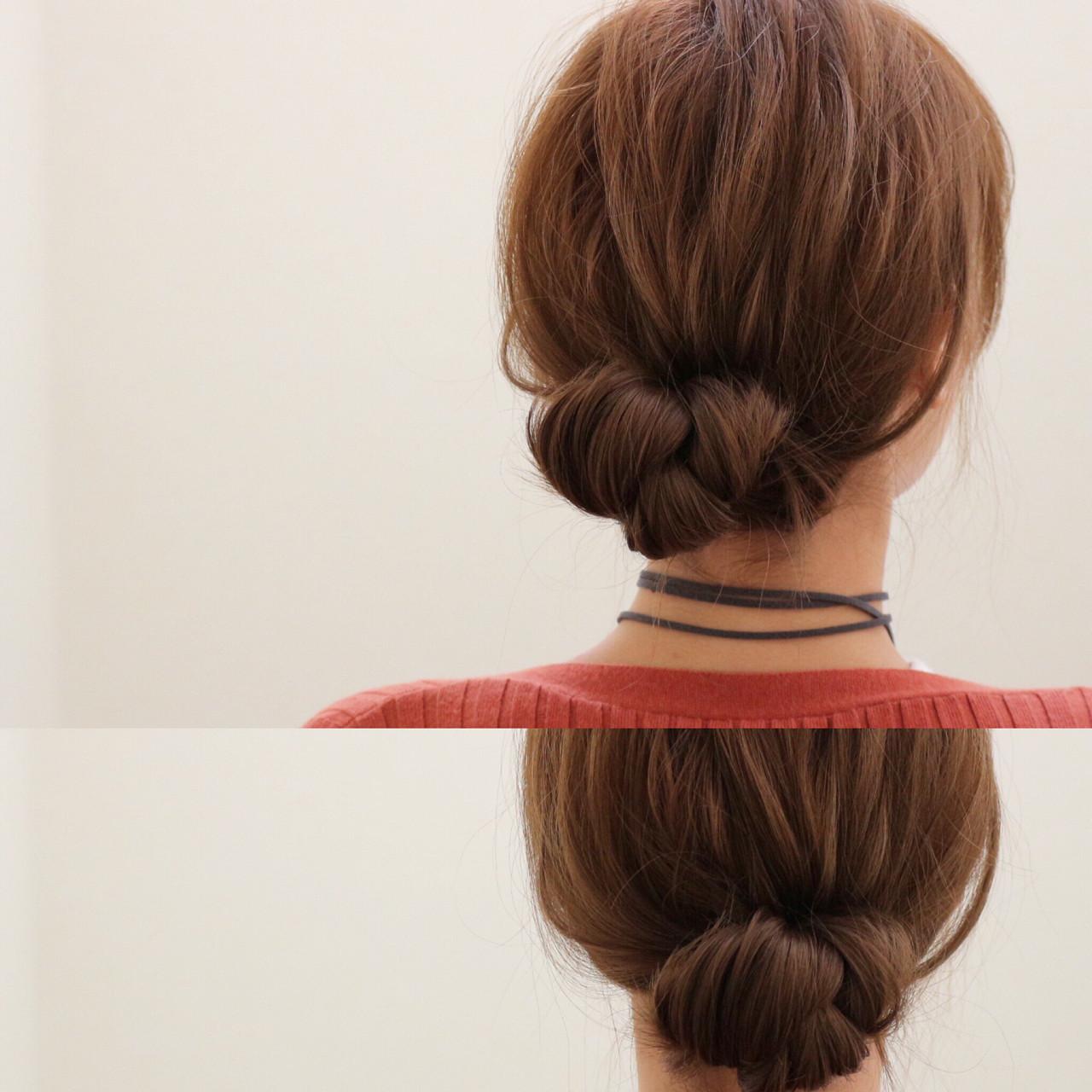簡単ヘアアレンジ 三つ編み まとめ髪 ショート ヘアスタイルや髪型の写真・画像
