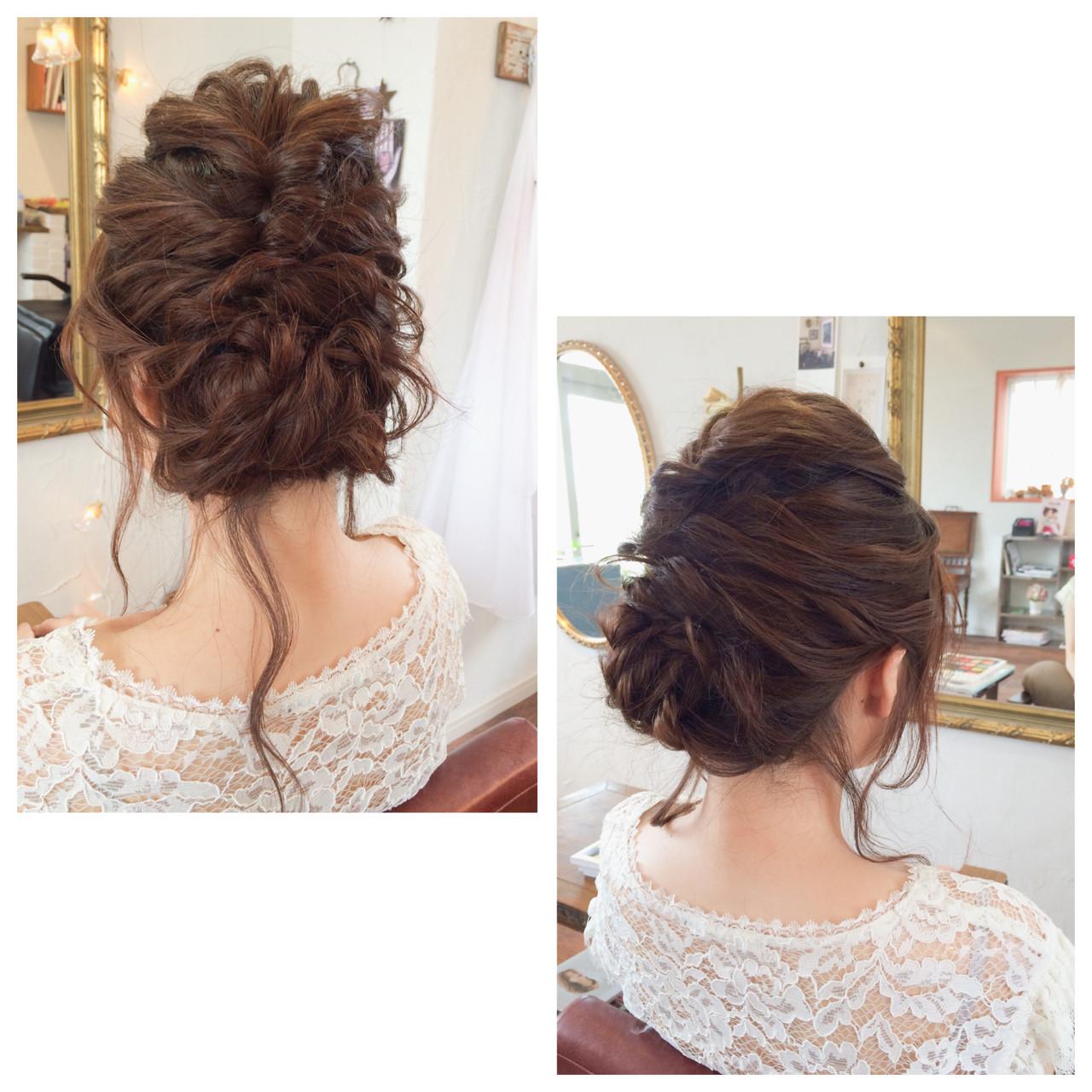 ヘアアレンジ ゆるふわ 波ウェーブ 結婚式 ヘアスタイルや髪型の写真・画像
