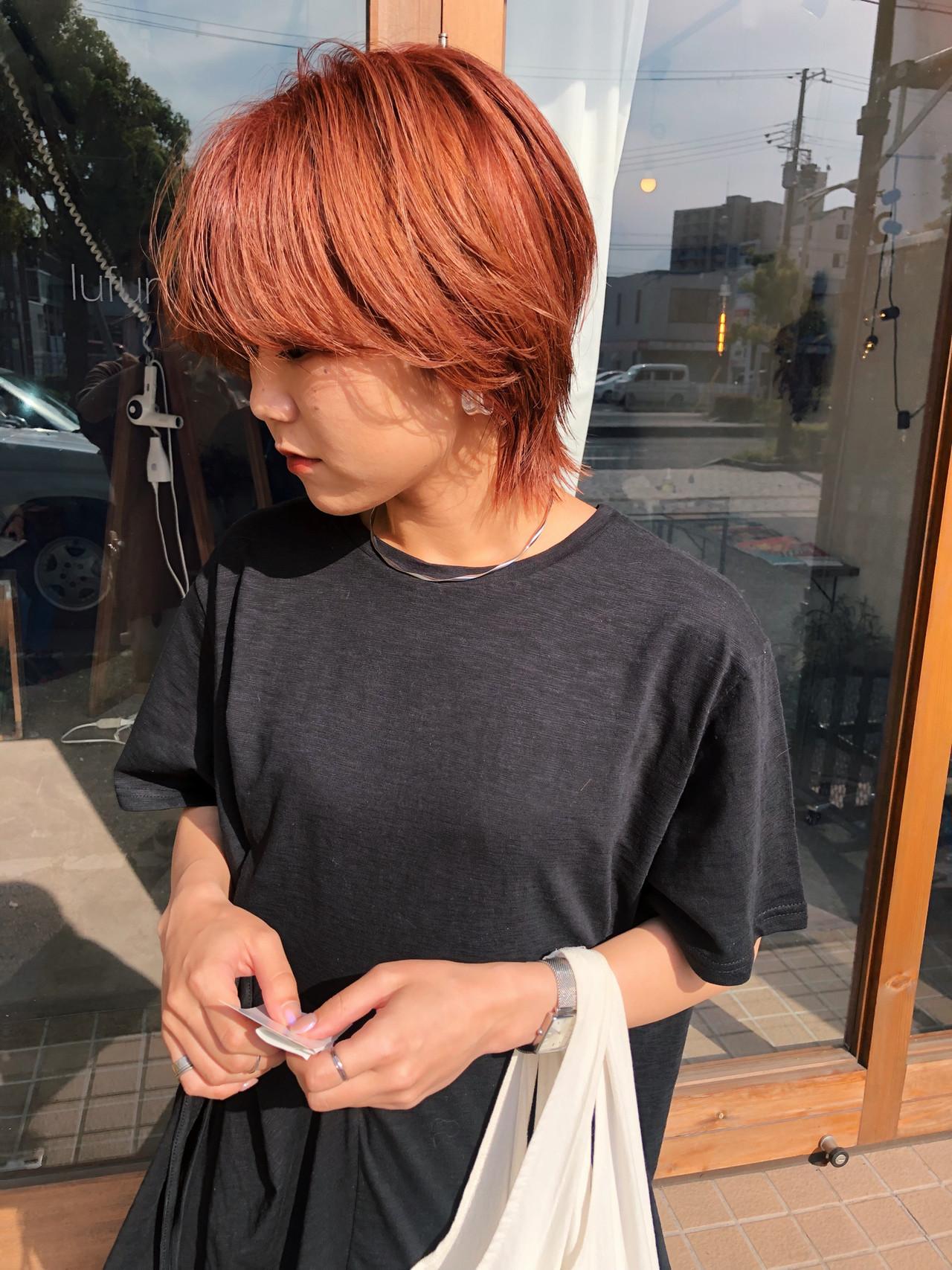 アプリコットオレンジ マッシュショート ショート ストリート ヘアスタイルや髪型の写真・画像