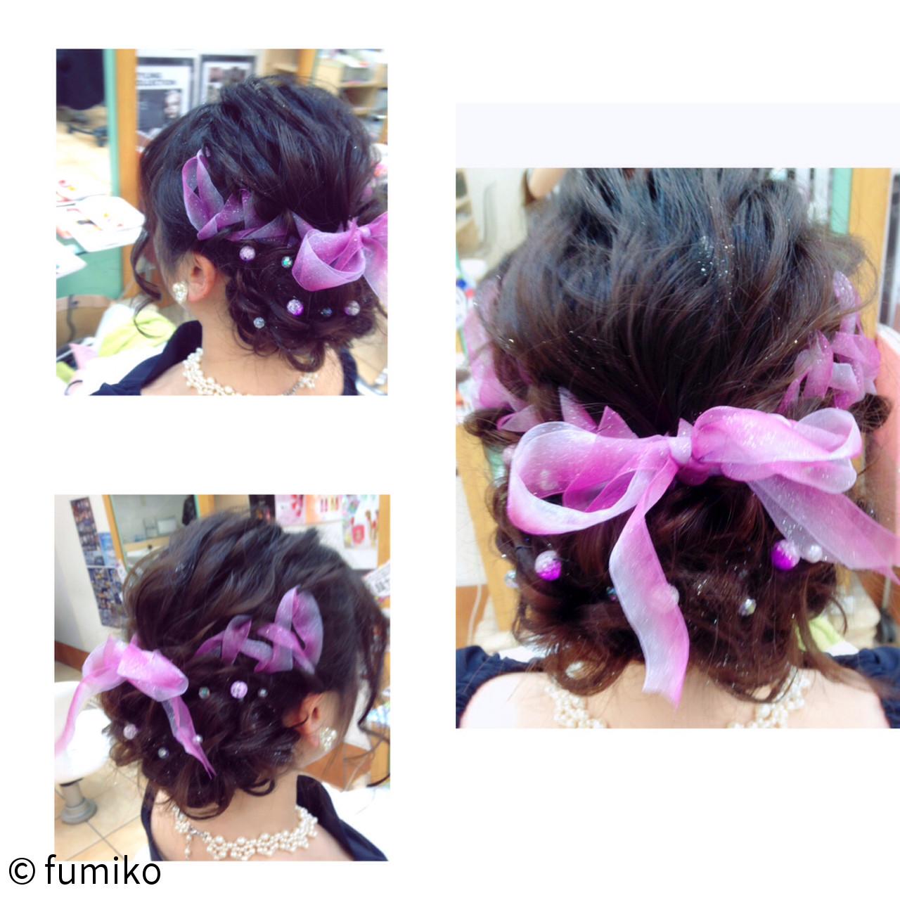 暗髪 ガーリー ヘアアレンジ ショート ヘアスタイルや髪型の写真・画像
