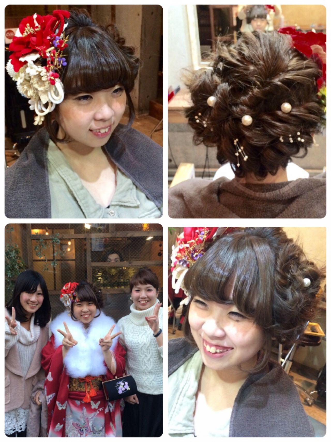 コンサバ ボブ ねじり ヘアアレンジ ヘアスタイルや髪型の写真・画像 | 小林 亜美 / Cadre