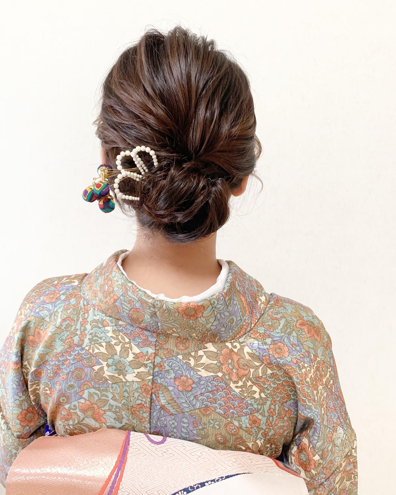 エレガント パーティー お呼ばれ ミディアム ヘアスタイルや髪型の写真・画像   Moriyama Mami / 福岡天神ヘアセット・着付け専門店【Three-keys】
