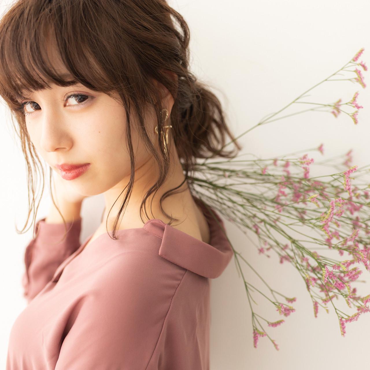 ゆるふわ ミディアム 女子力 簡単ヘアアレンジ ヘアスタイルや髪型の写真・画像