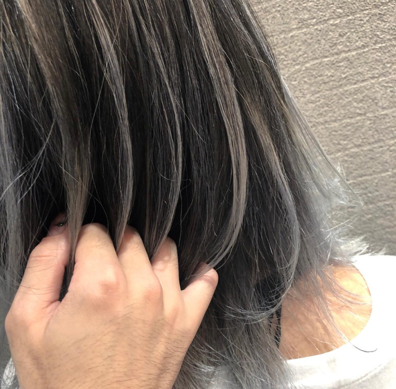 外国人風 3Dハイライト ミディアム ストリート ヘアスタイルや髪型の写真・画像
