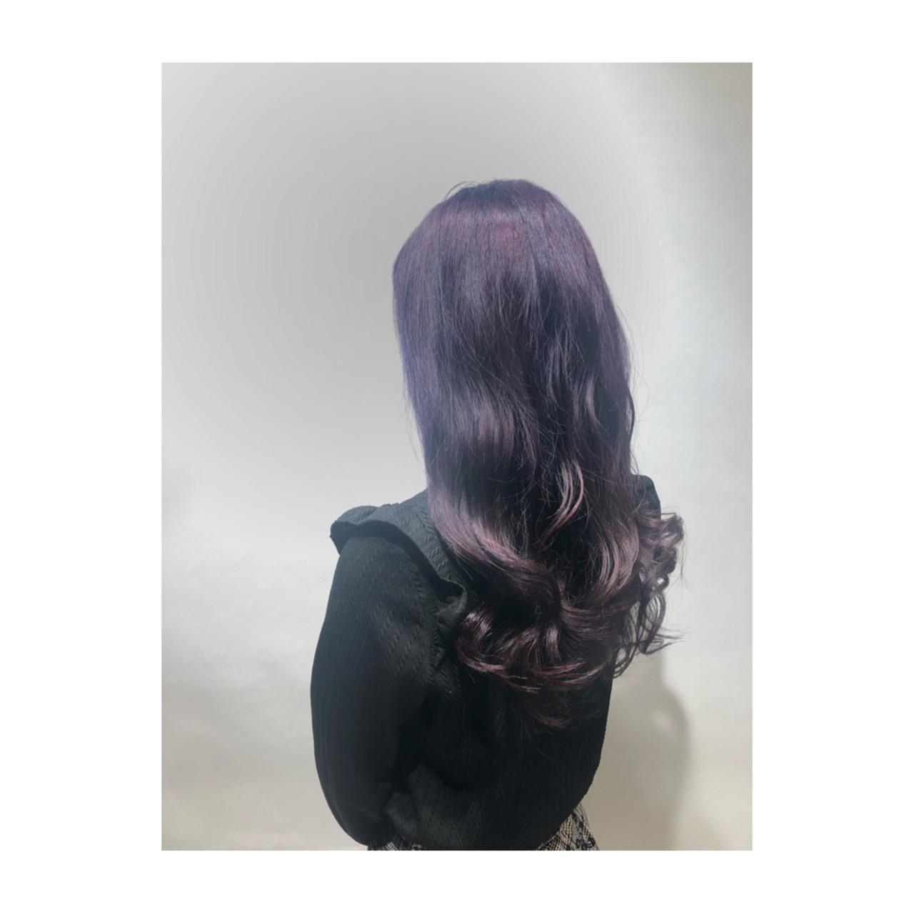 ラベンダーピンク 透明感 ピンクバイオレット ストリート ヘアスタイルや髪型の写真・画像