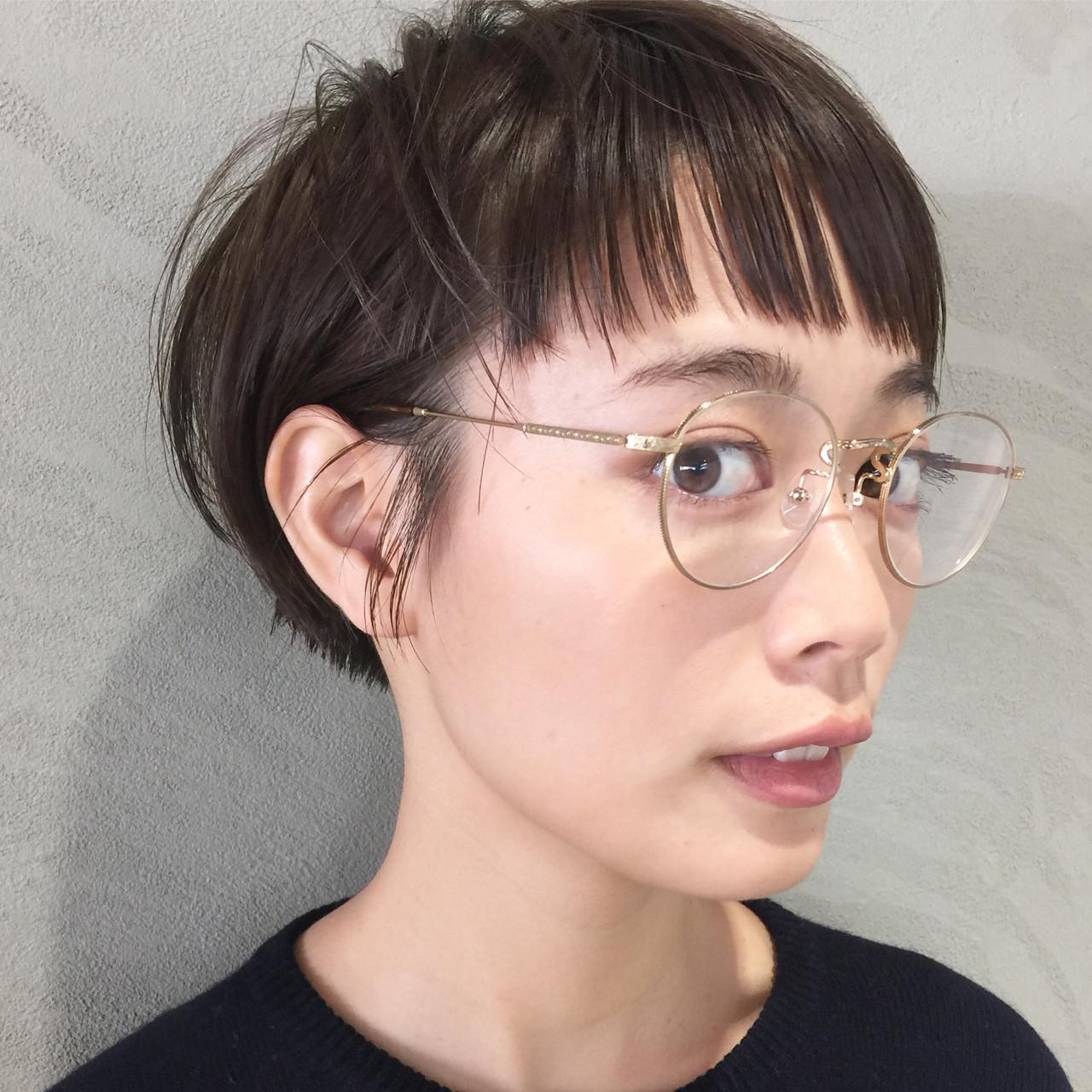 ショートボブ 透明感 ショート オン眉 ヘアスタイルや髪型の写真・画像