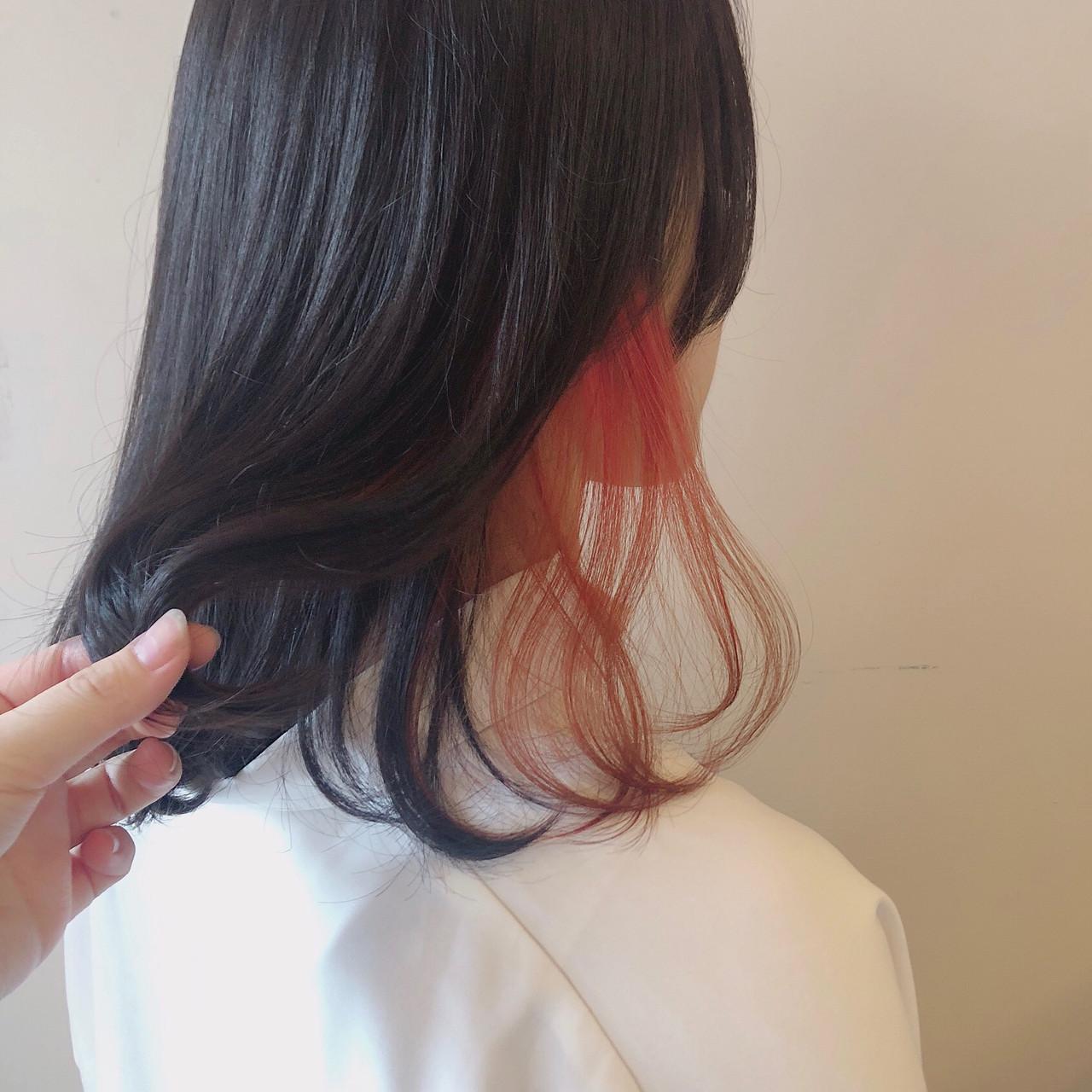 ボブ レッド インナーカラー ダブルカラー ヘアスタイルや髪型の写真・画像 | 多田 朱音 / JLB