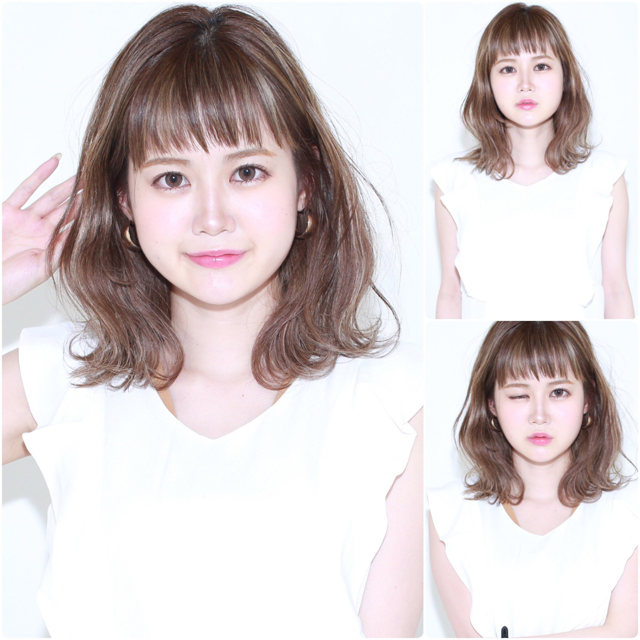 ミディアム フェミニン ハイライト ロブ ヘアスタイルや髪型の写真・画像 | イマムラ スナオ / LUKE