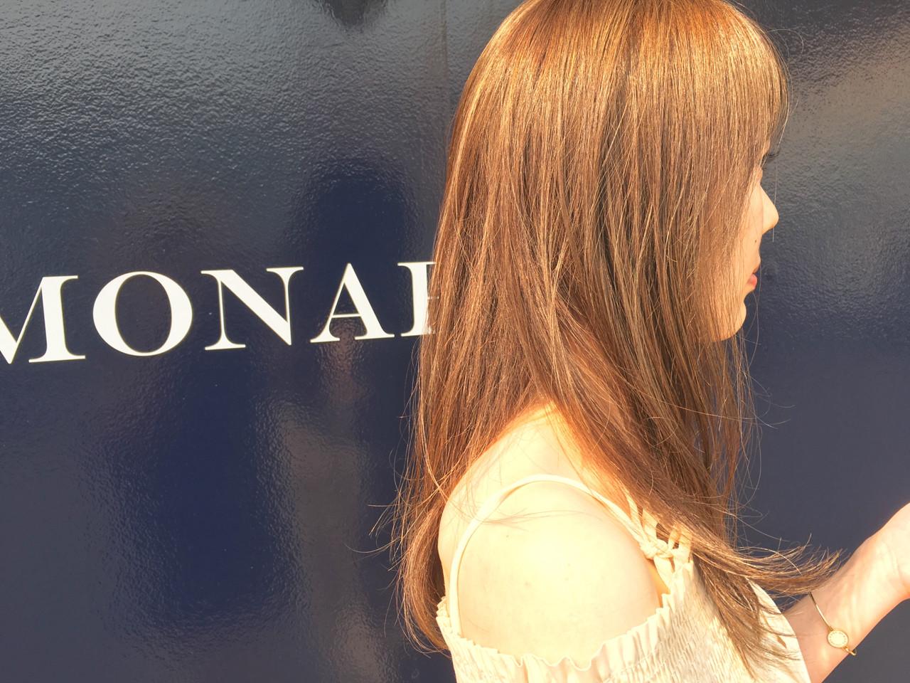ハイライト 外国人風 ミルクティー セミロング ヘアスタイルや髪型の写真・画像 | たけし / MONARUDA