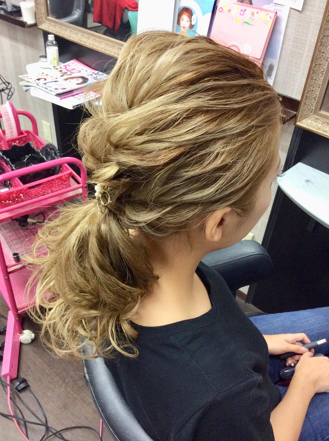 ポニーテール ヘアアレンジ デート セミロング ヘアスタイルや髪型の写真・画像