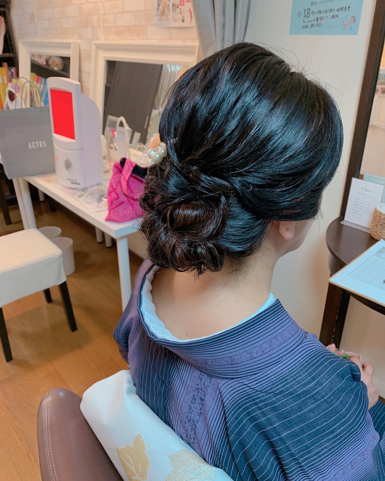 黒髪 エレガント ヘアアレンジ デート ヘアスタイルや髪型の写真・画像