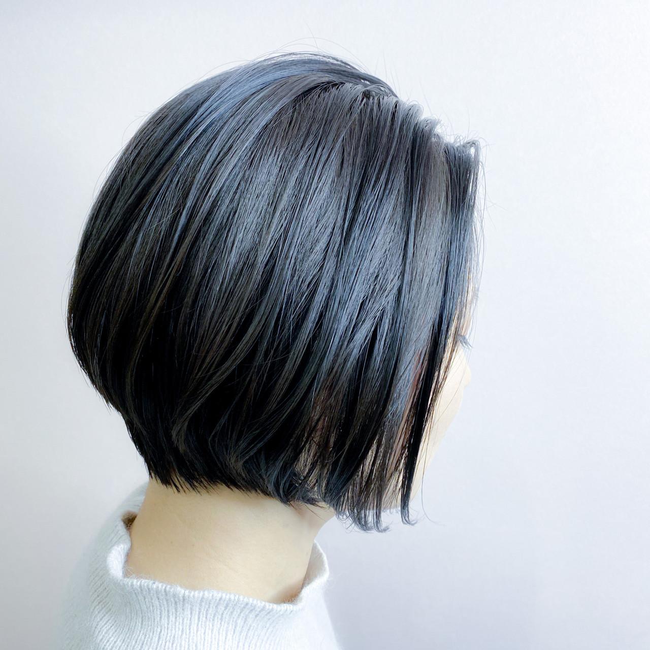 ショートボブ ストリート ブルーブラック ショートヘア ヘアスタイルや髪型の写真・画像 | 並木 大祐 / Andco