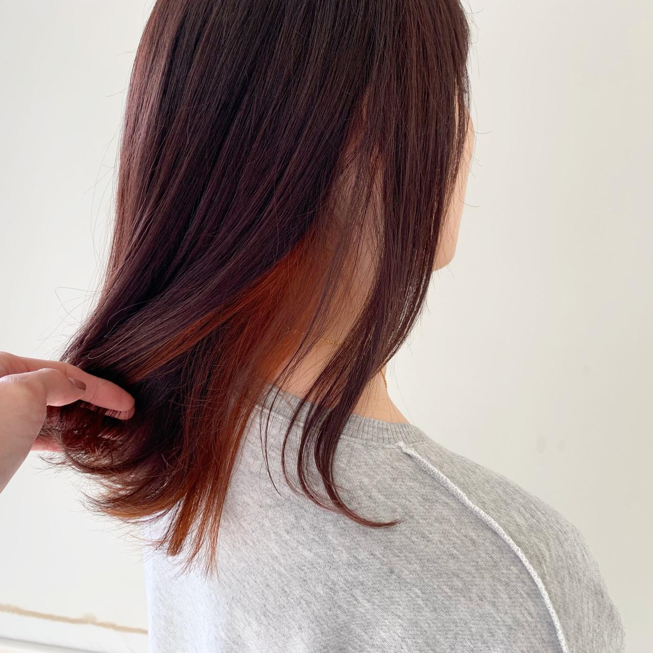 ヘアアレンジ インナーカラー ナチュラル デート ヘアスタイルや髪型の写真・画像 | 新谷 朋宏 / Free hairstylist shinya
