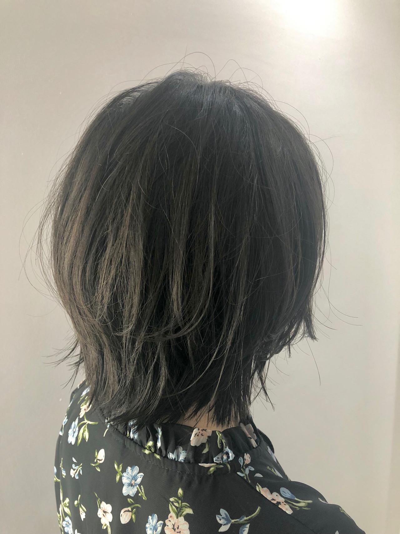ナチュラル ボブ 艶カラー レイヤーボブ ヘアスタイルや髪型の写真・画像