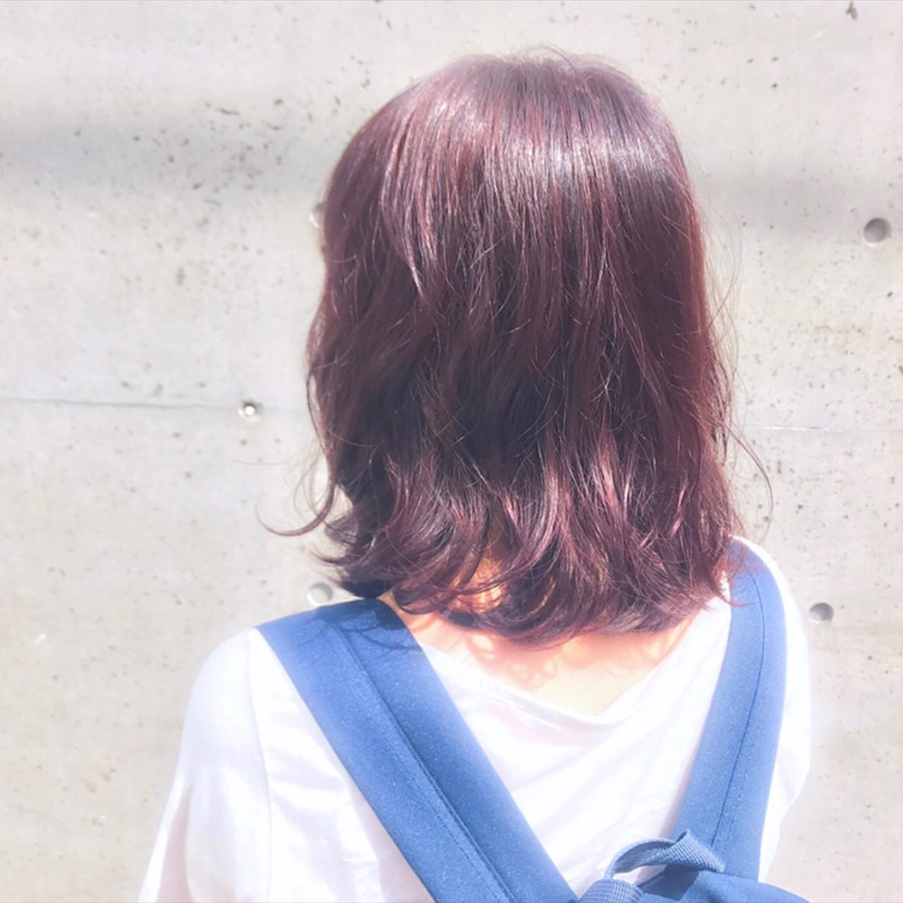 パープル デート 秋 ミディアム ヘアスタイルや髪型の写真・画像