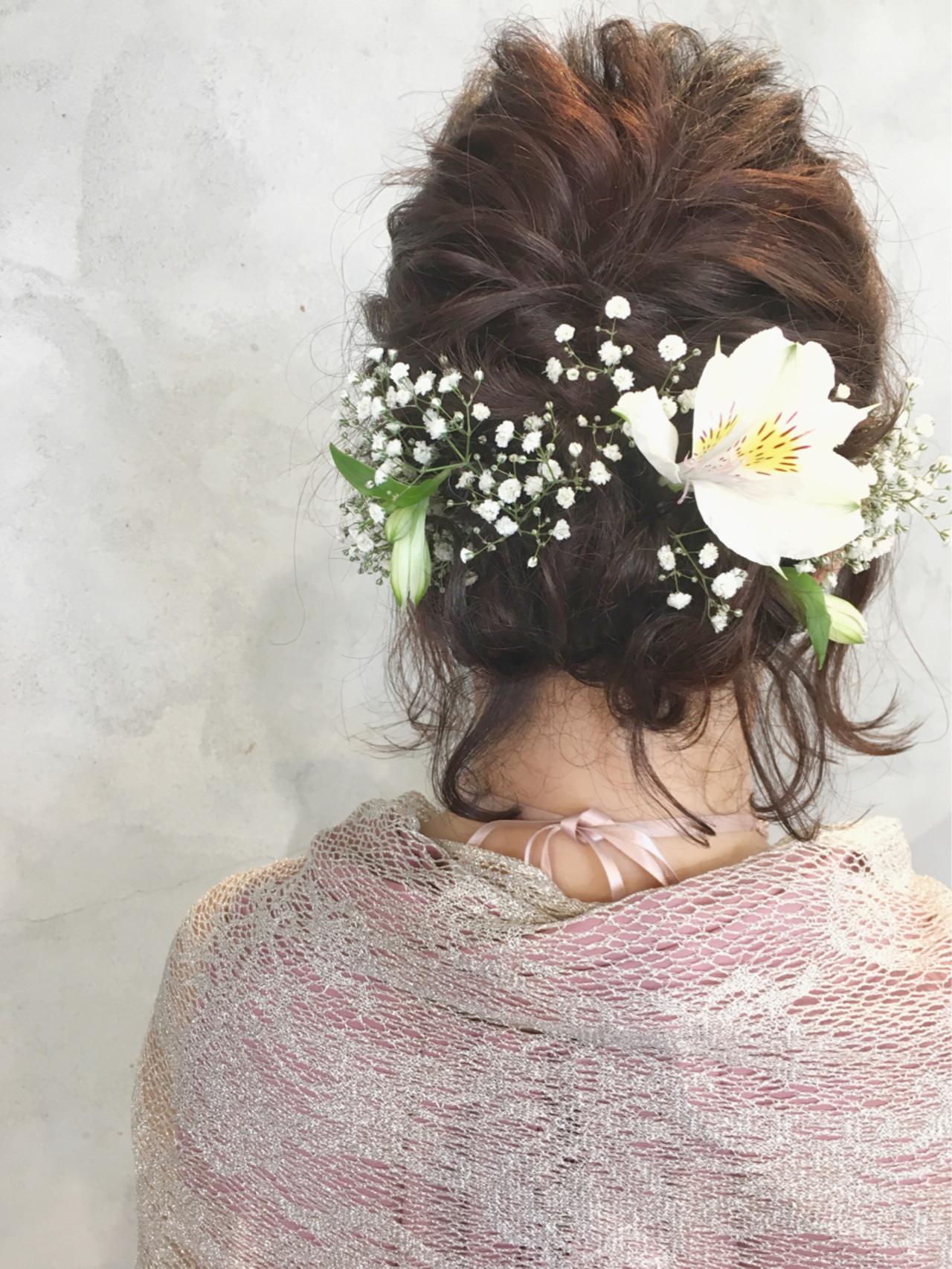 ウェーブ ボブ 結婚式 アンニュイ ヘアスタイルや髪型の写真・画像