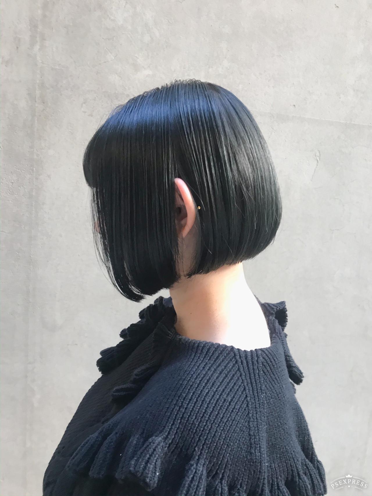 ナチュラル デート 切りっぱなしボブ アウトドア ヘアスタイルや髪型の写真・画像 | Tierra / 町田雄一 / Tierra harajuku