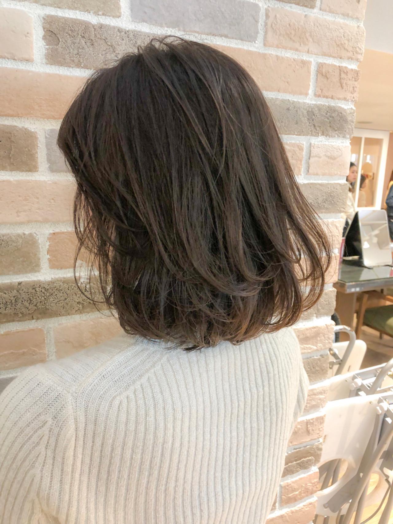 ロブ デート ワンカール オフィス ヘアスタイルや髪型の写真・画像