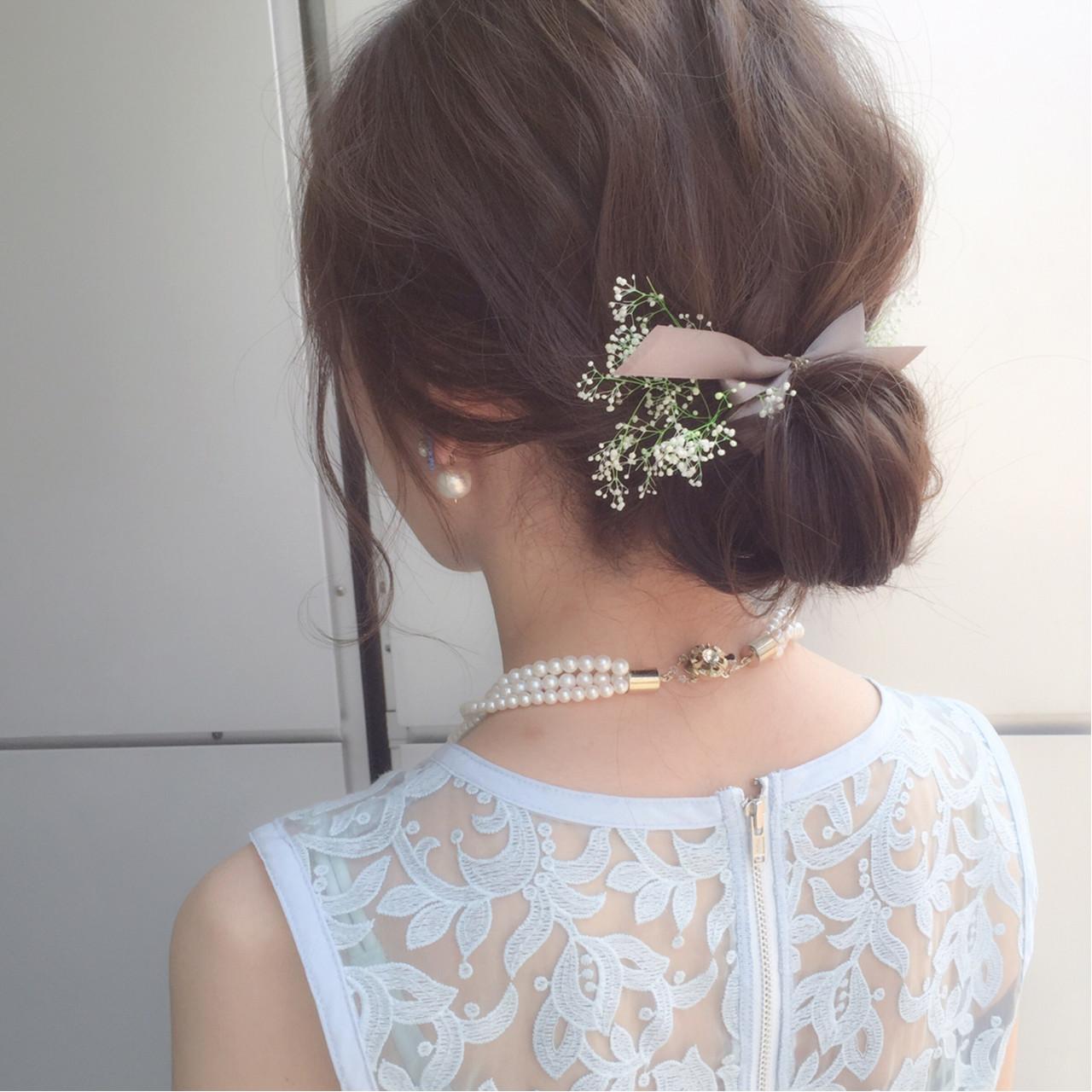 お団子 簡単ヘアアレンジ ミディアム ショート ヘアスタイルや髪型の写真・画像