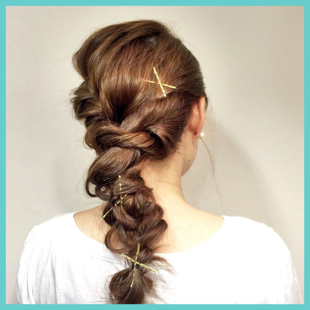 セミロング ヘアアレンジ ヘアピン 編み込み ヘアスタイルや髪型の写真・画像