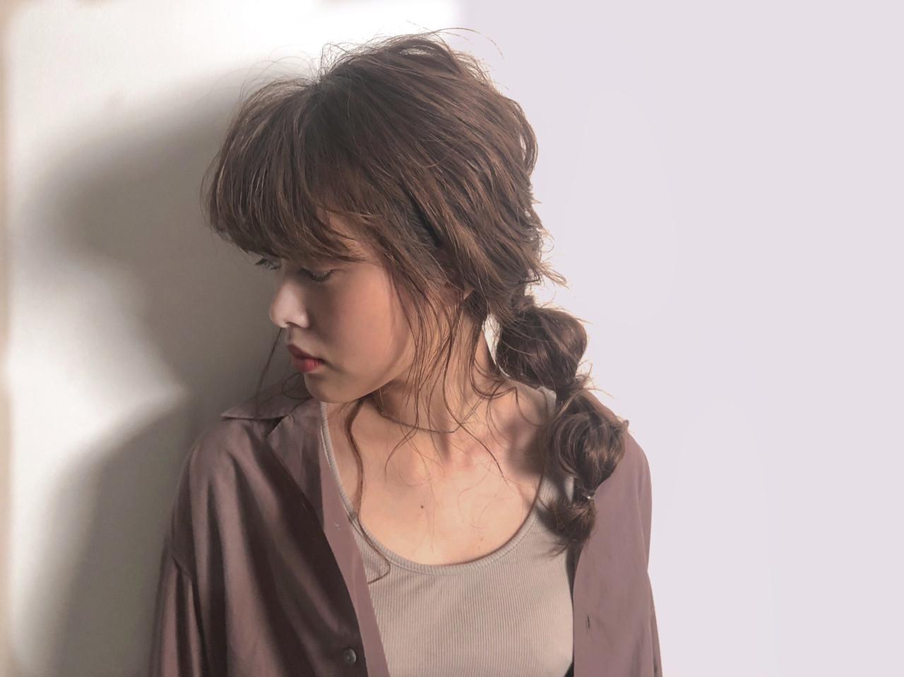 抜け感 透け感ヘア セミロング オシャレ ヘアスタイルや髪型の写真・画像