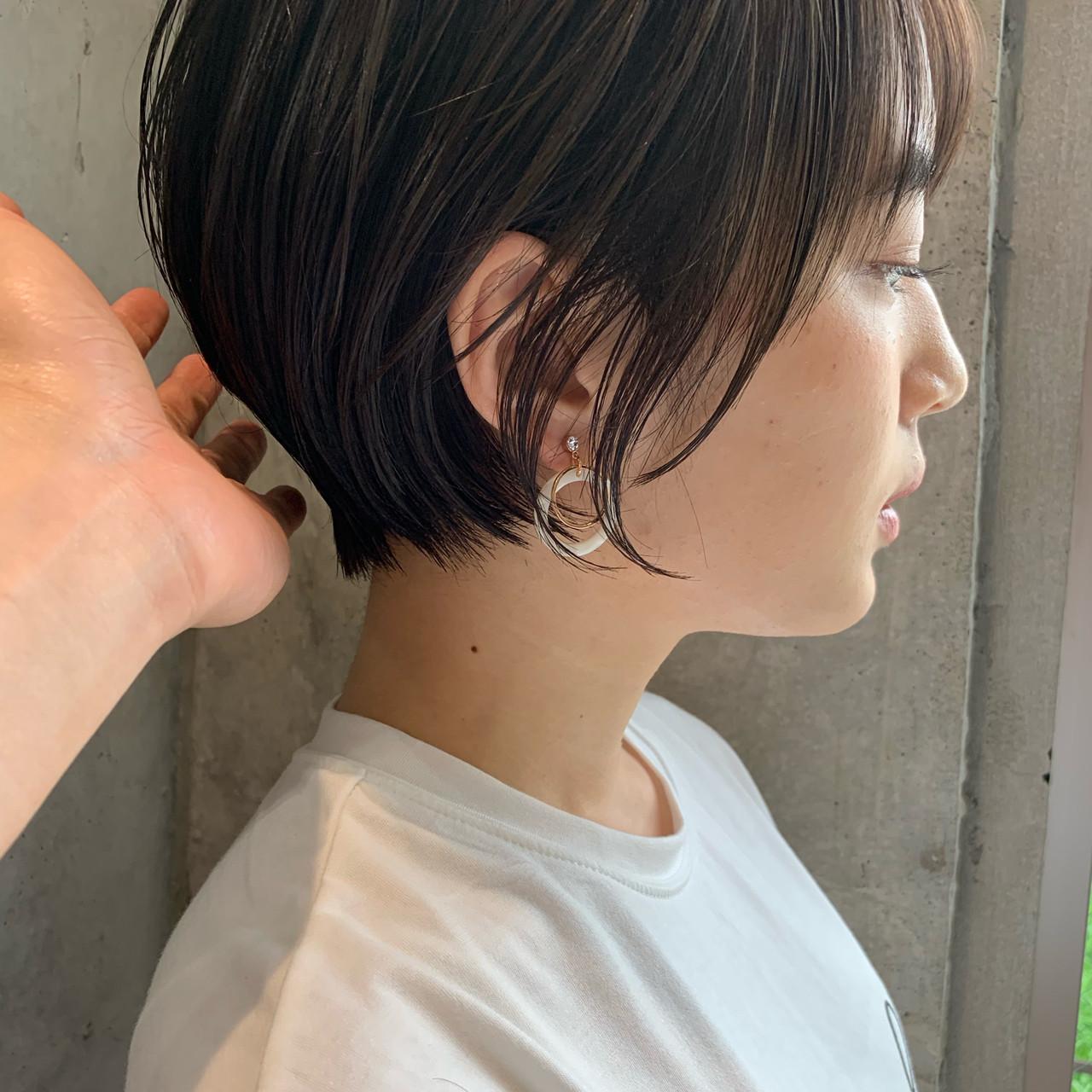 デート 小顔 ナチュラル ショートボブ ヘアスタイルや髪型の写真・画像