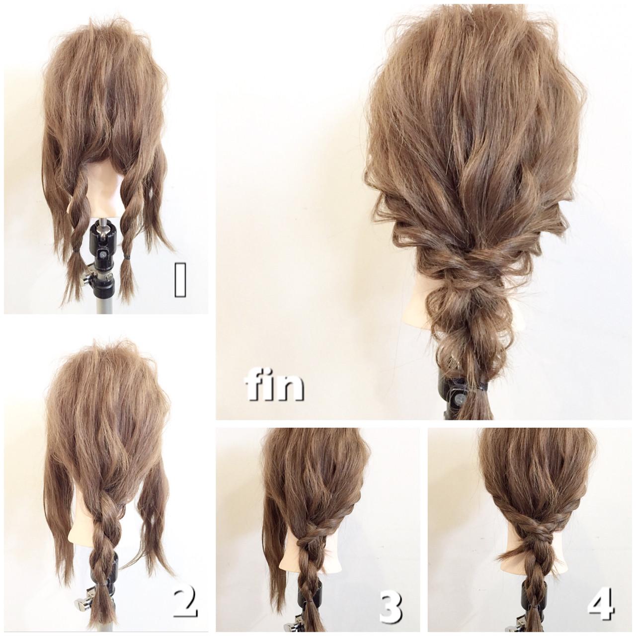 ショート ロープ編み セミロング 簡単ヘアアレンジ ヘアスタイルや髪型の写真・画像