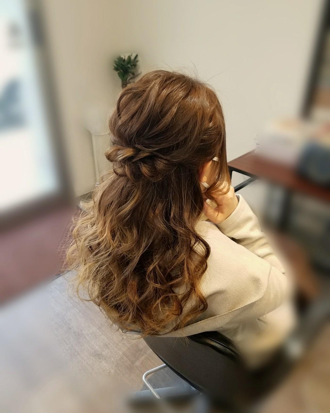 ナチュラル ヘアアレンジ セミロング ハーフアップ ヘアスタイルや髪型の写真・画像 | mai / HAIR SALON STELLA