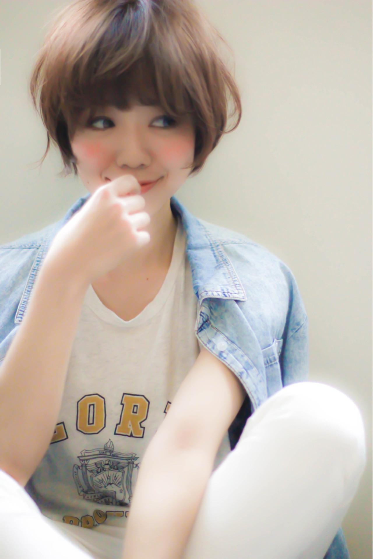 ショート 大人かわいい 前髪あり パーマ ヘアスタイルや髪型の写真・画像 | 吉岡良泰 / AlicE