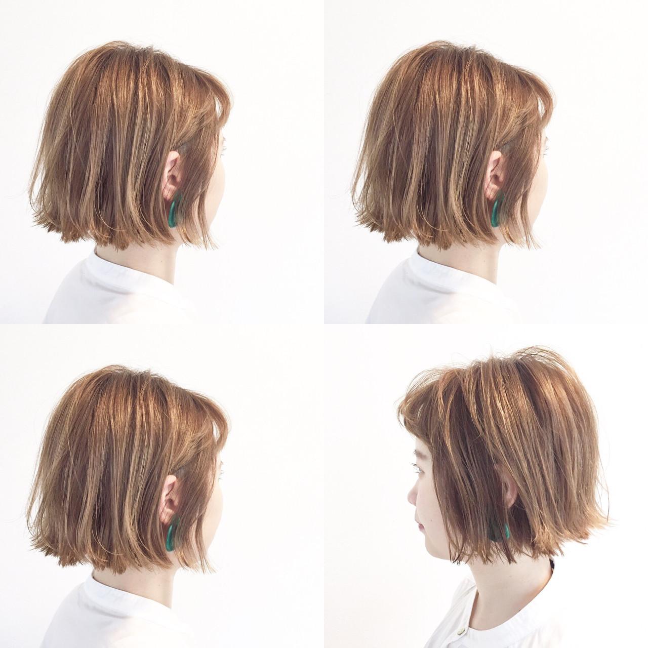 ボブ アンニュイ ヌーディベージュ ショートボブ ヘアスタイルや髪型の写真・画像