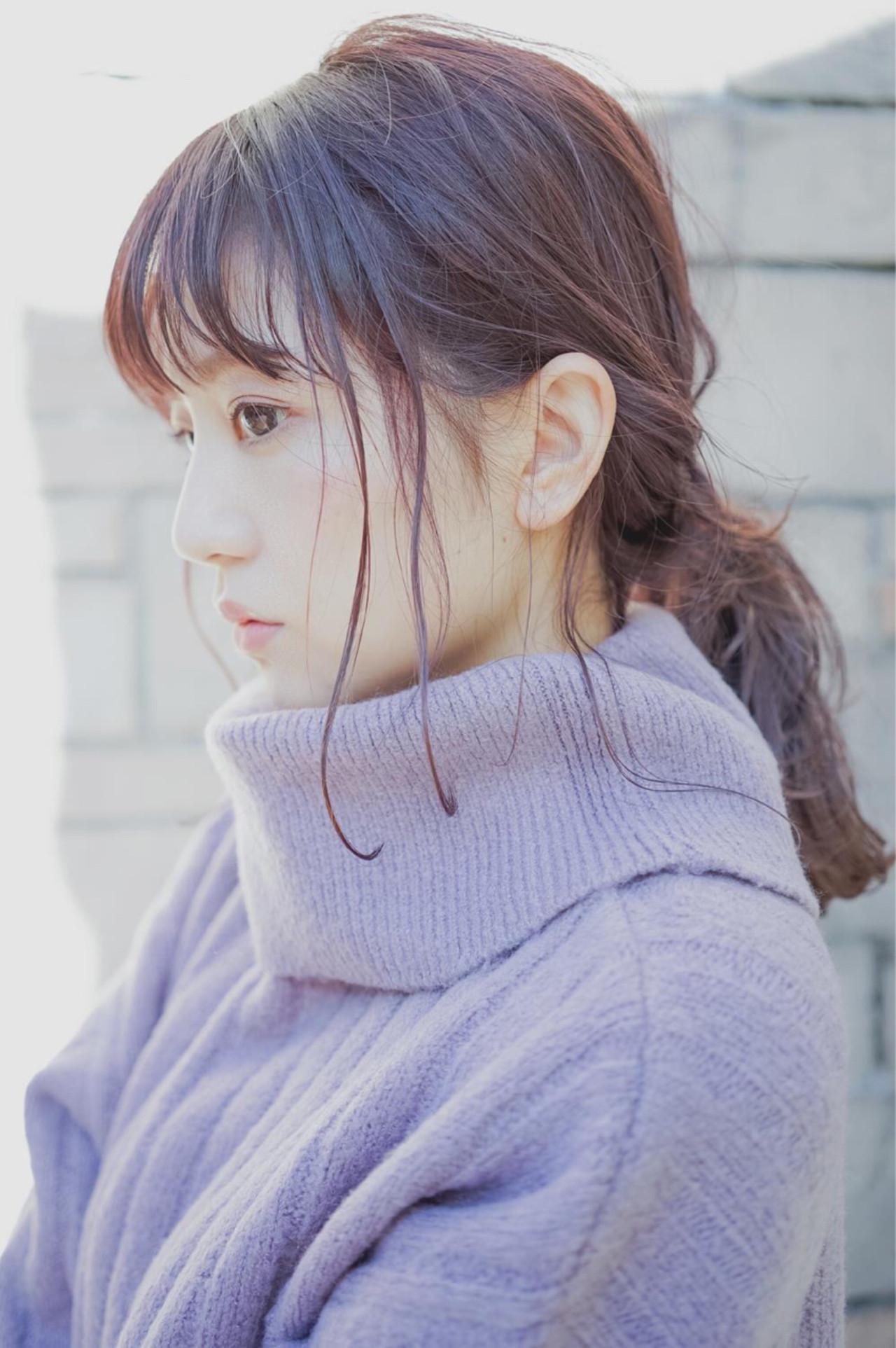 ピンク ラベンダーピンク ローポニーテール グレージュ ヘアスタイルや髪型の写真・画像 | 桝田 由佳 / フリーランスでしてます!お電話のご予約不可です