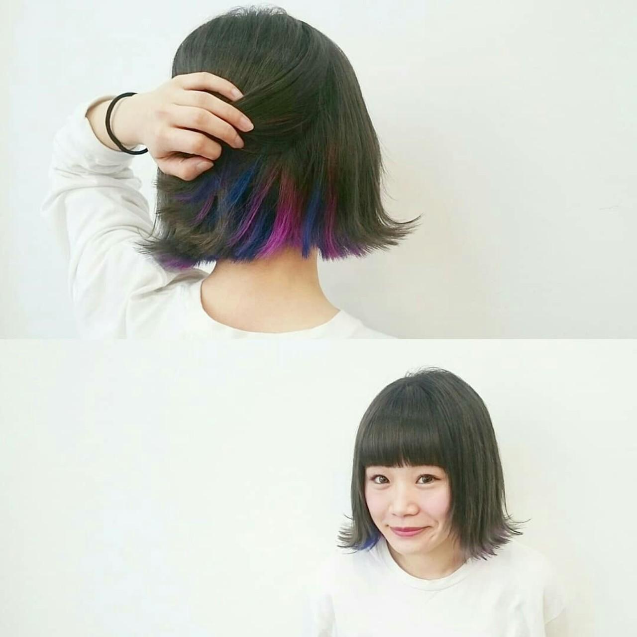 グレージュ ストリート ボブ インナーカラー ヘアスタイルや髪型の写真・画像 | KUMA / hair make PUR