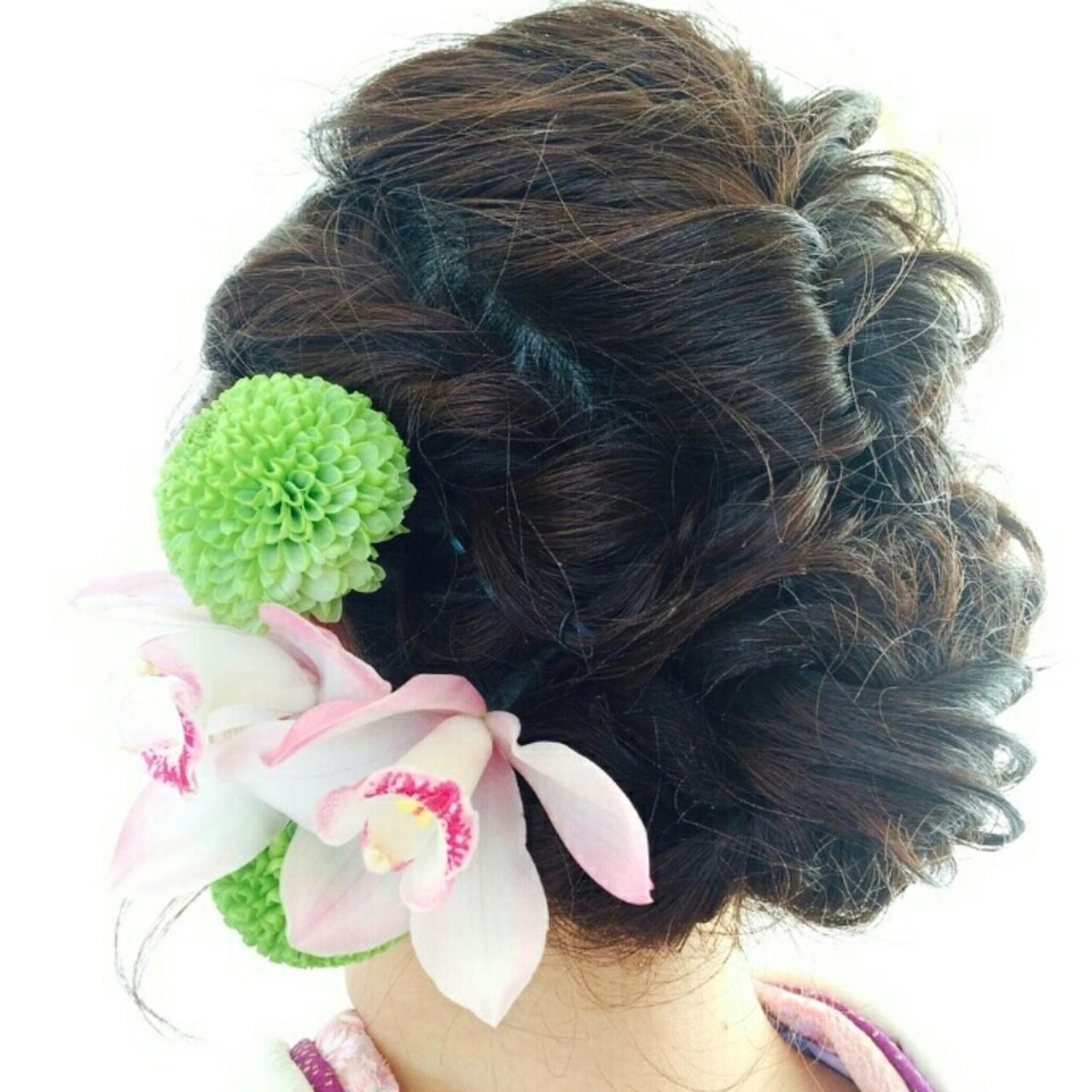 ヘアアレンジ 編み込み セミロング ゆるふわ ヘアスタイルや髪型の写真・画像