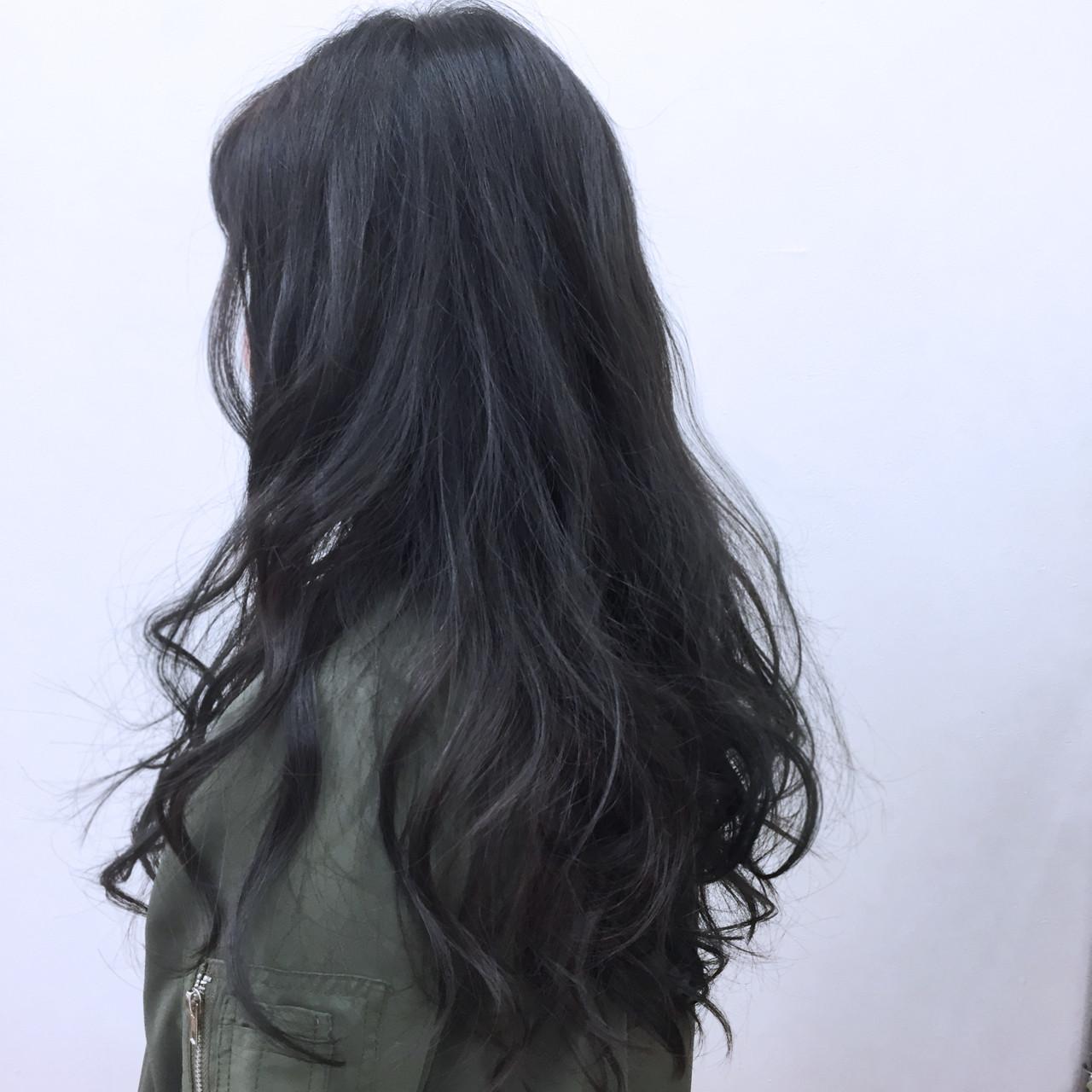 ストレート ブルーブラック ガーリー ロング ヘアスタイルや髪型の写真・画像