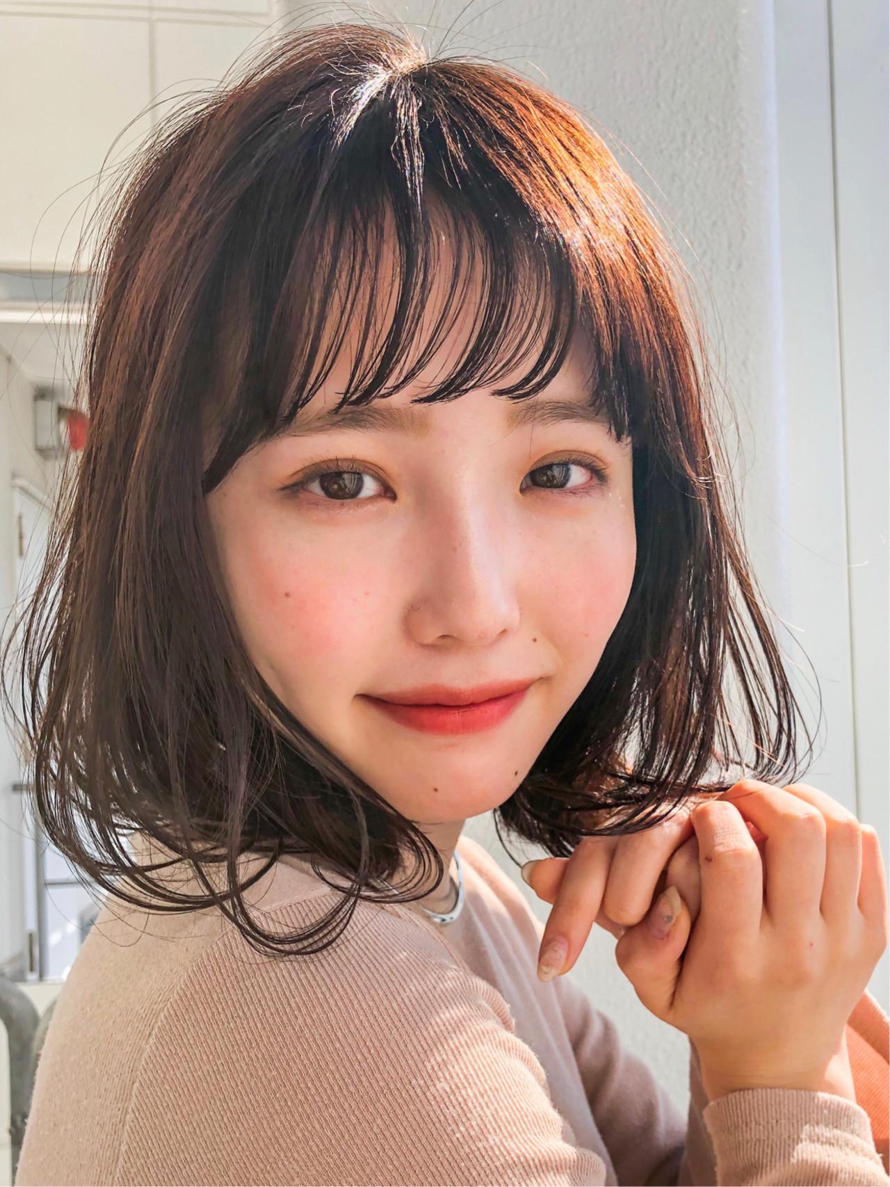 ボブ デート 前髪 ナチュラル ヘアスタイルや髪型の写真・画像 | 鈴木ゆうすけ / GARDEN  harajuku